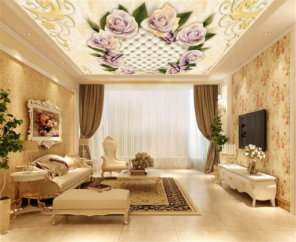 Details About Retro Flower Clumps 3d Ceiling Mural Full Wall Photo Wallpaper Print Home Decor