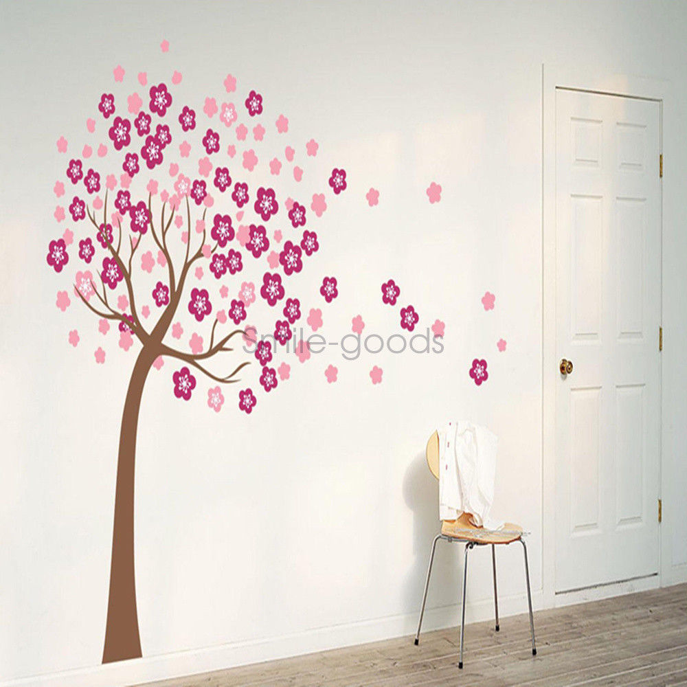 Details about 46\'\'x59\'\' Peach Blossom Tree Wall Stickers Nursery Bedroom  Decoration Decal