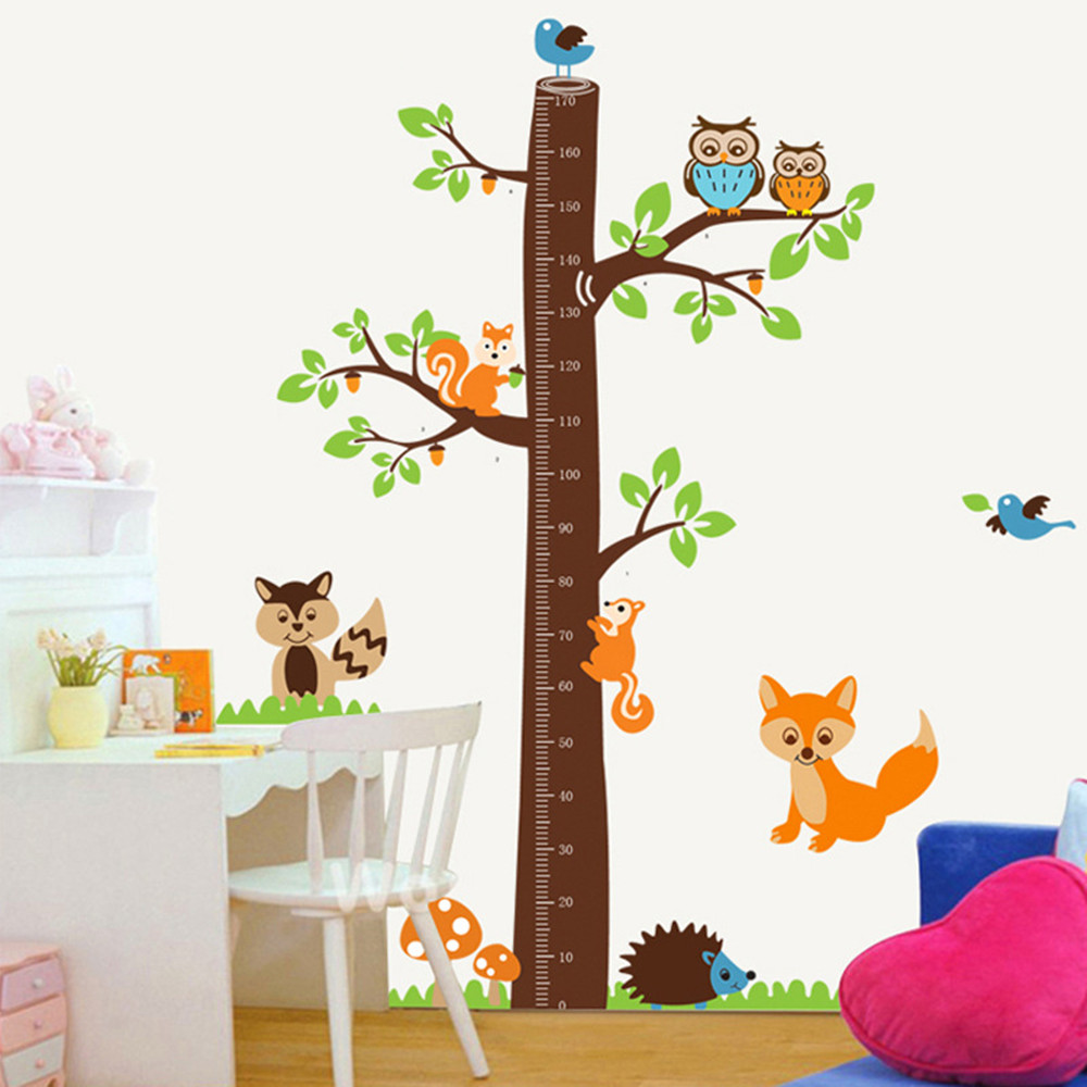 Removable Height Chart Measure Wall Sticker Decal for Kids Baby Room Animals AG
