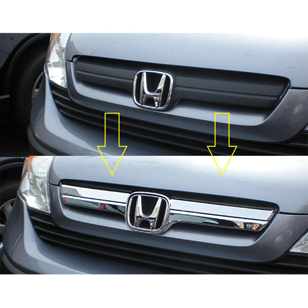 Fit for 2007 2008 2009 Honda CR-V CRV ABS Chrome Upper Grille w// Logo Show