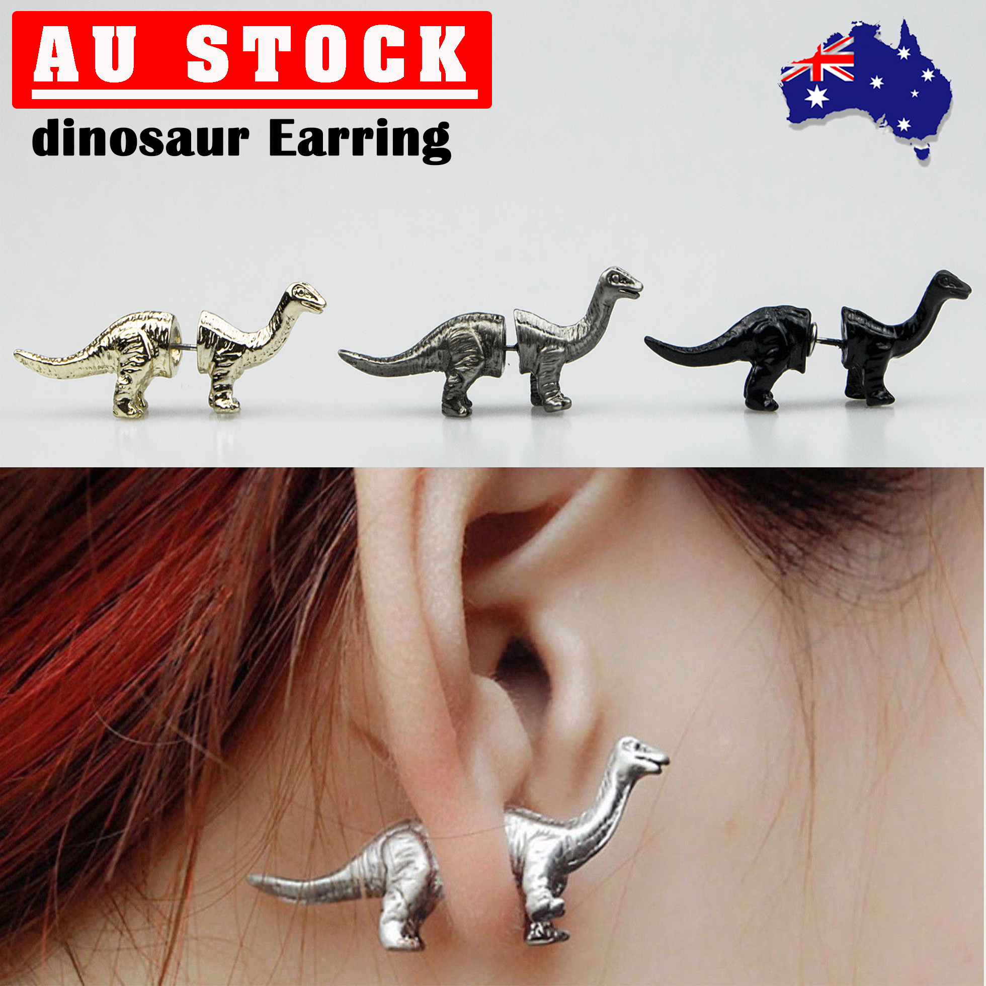 Image Of Rebecca Accessories 14k Yellow Gold Filled Sterling Silver Dinosaur Stud Earrings