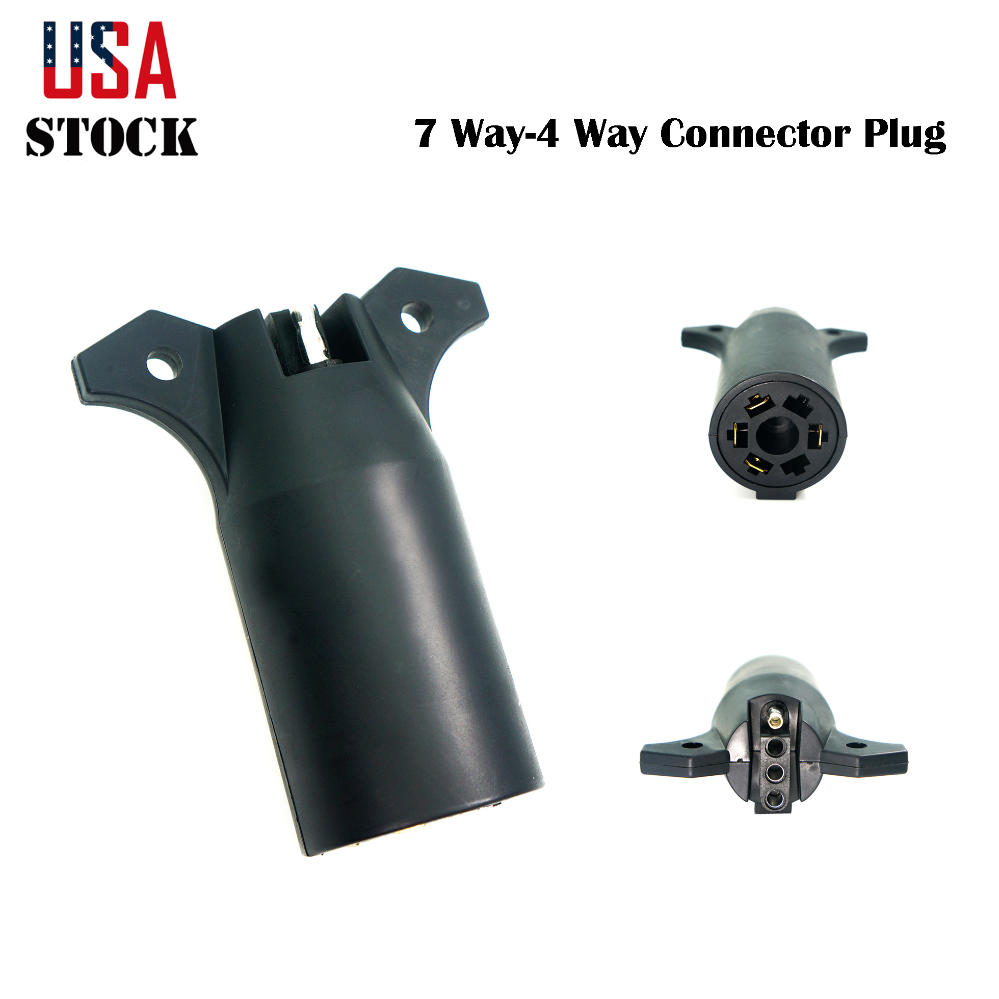 7 Way To 4 Pin Flat Trailer Plug Connector Light Wiring Adapter Truck Rv Boat Us