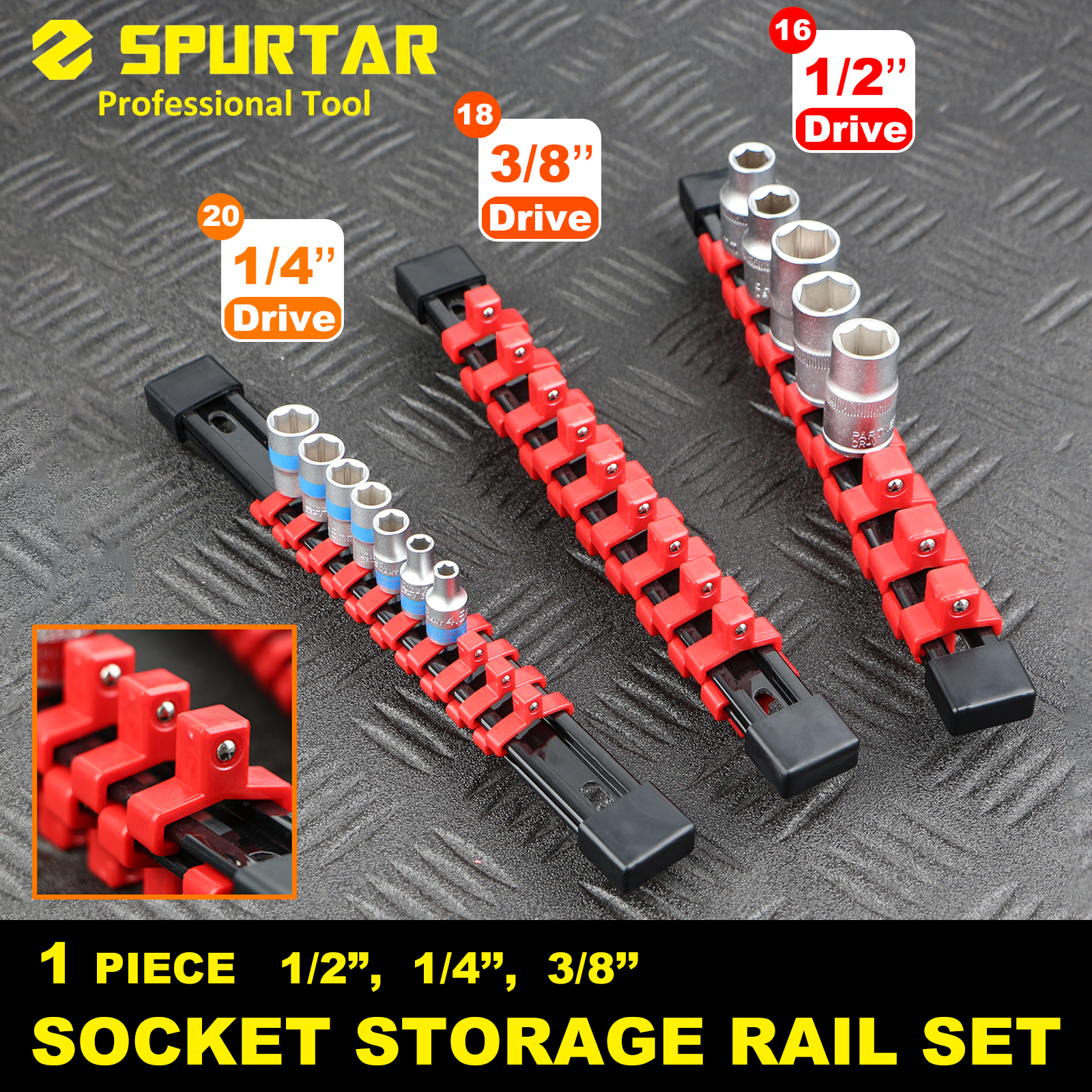 Details About 3 Pc Double Sided Socket Rail Holder Sliding Organizer Diy Abs 1 4 3 8 1 2