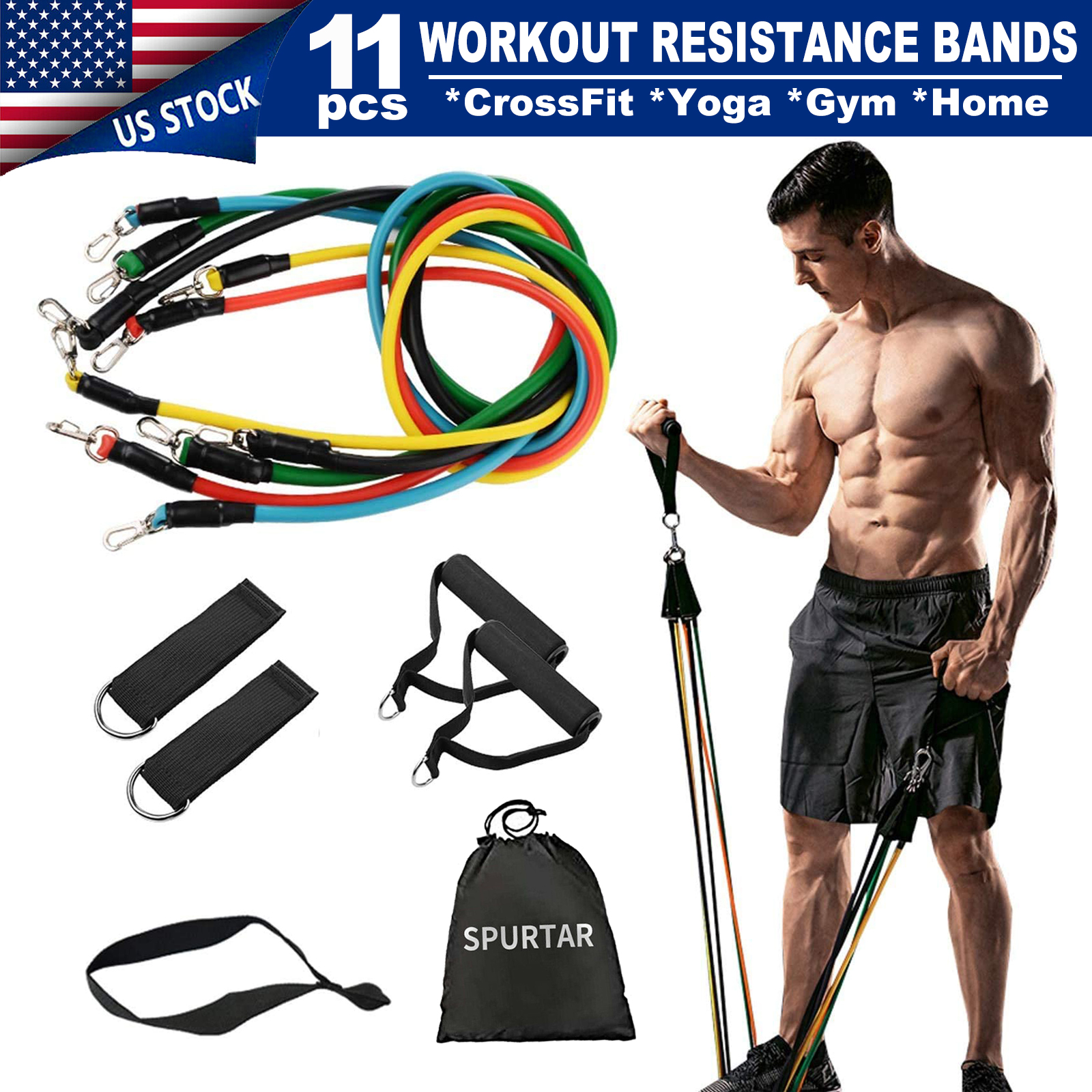 Workout Bands 11Pc Set Yoga Pilates Home Exercise crossFit Residence Band Gym
