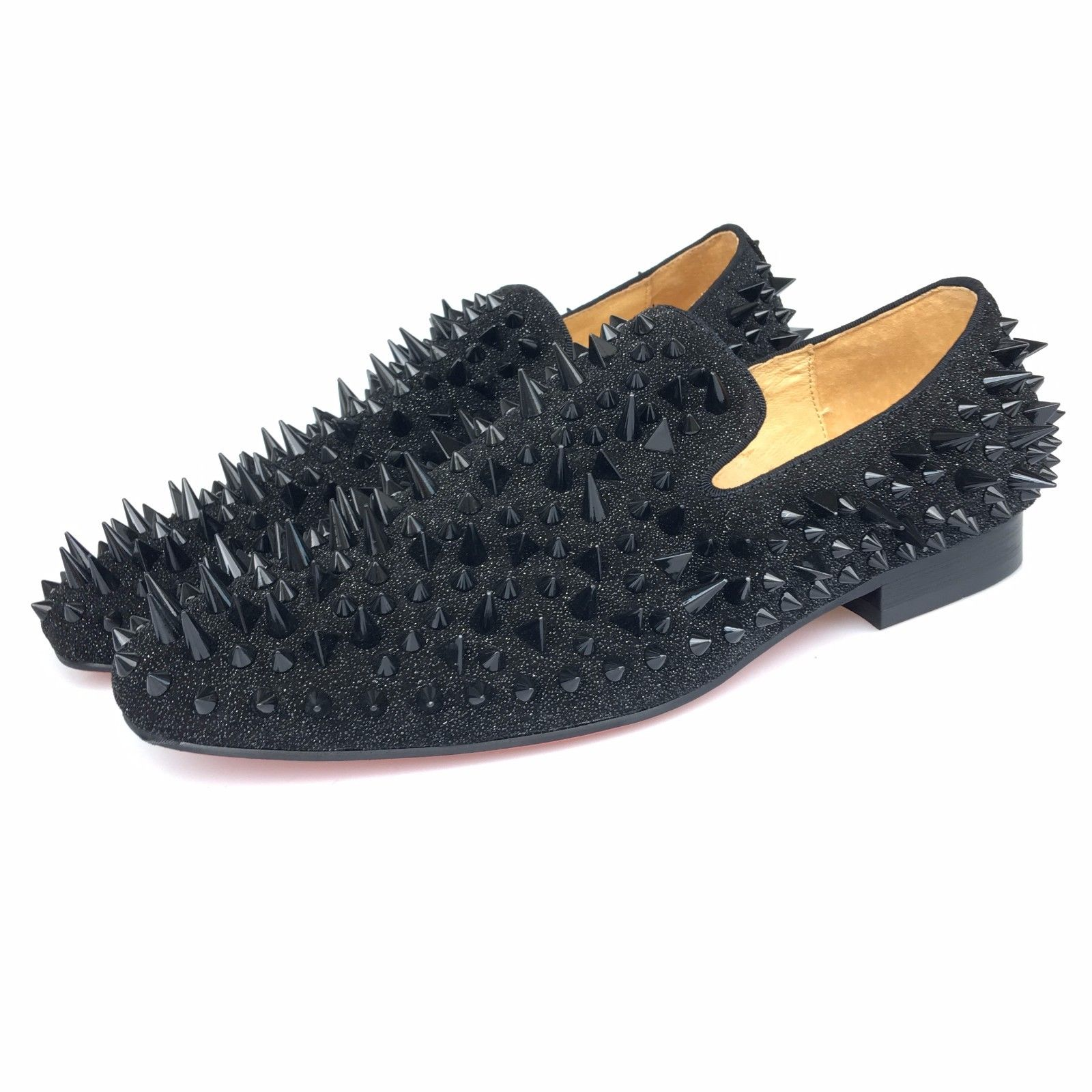 dc74a37e73b8 Details about Handmade Men Leather Loafers Shoes Slippers Flat with Gold  Spikes and Red Bottom
