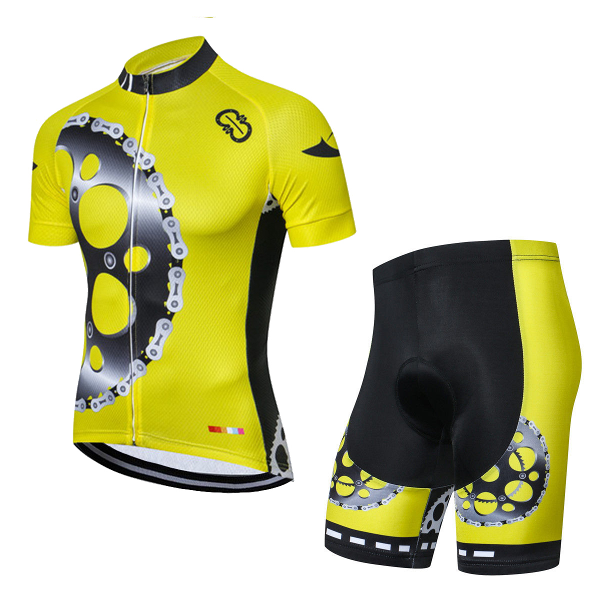 Yellow Cycling Gear Kit Men/'s Reflective Bicycle Jersey and Padded Shorts Set