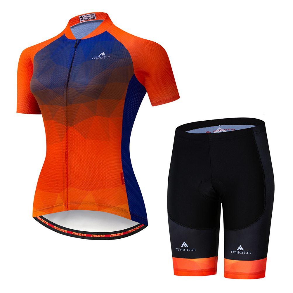 Miloto Women's Cycling Bib Kit Reflective Bike Jersey and