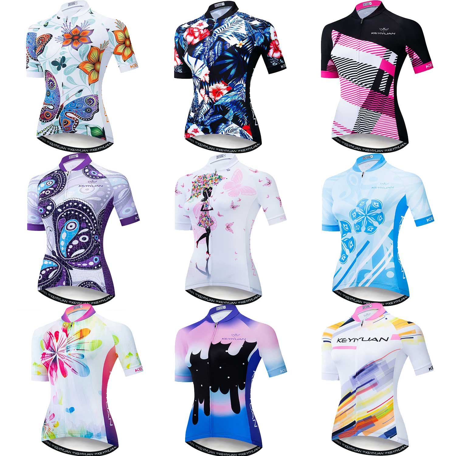 Womens Cycling Jersey Short Sleeve Bike Shirts Back Pocket Reflective