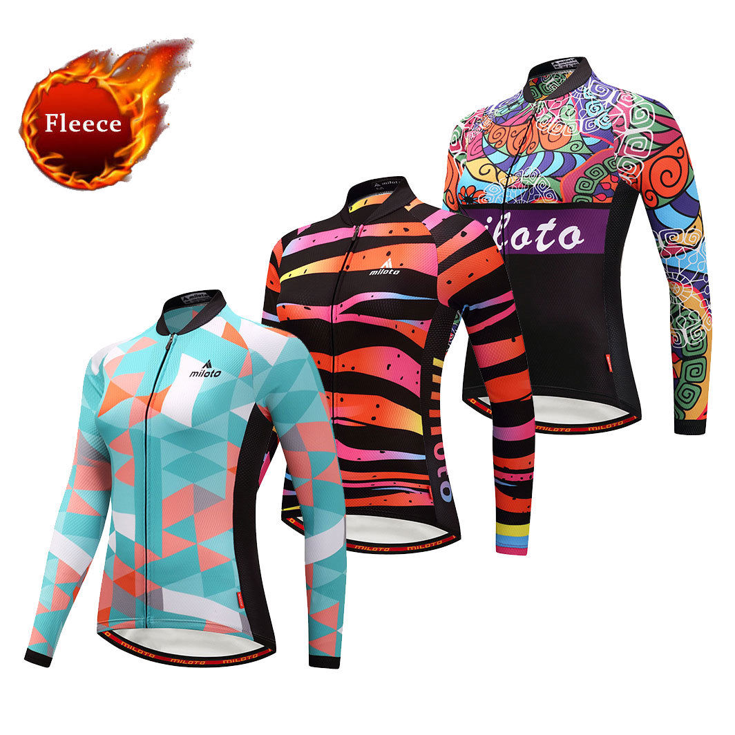 25b852992 Details about Women s Winter Fleece Cycle Jersey Long Sleeve Ladies Thermal  Cycling Shirts