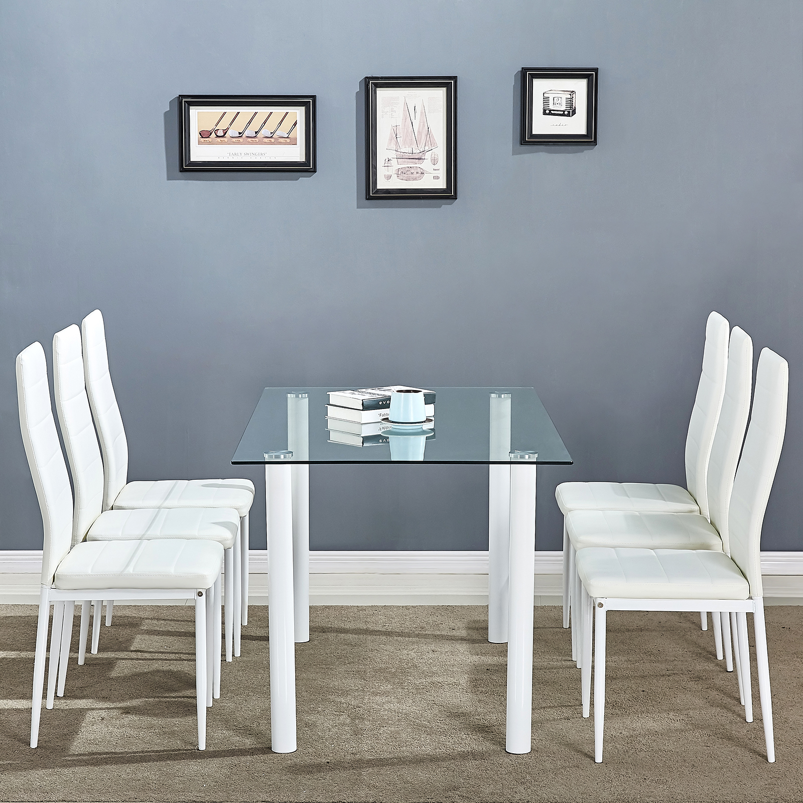 clear glass dining table set and 6 faux leather chairs