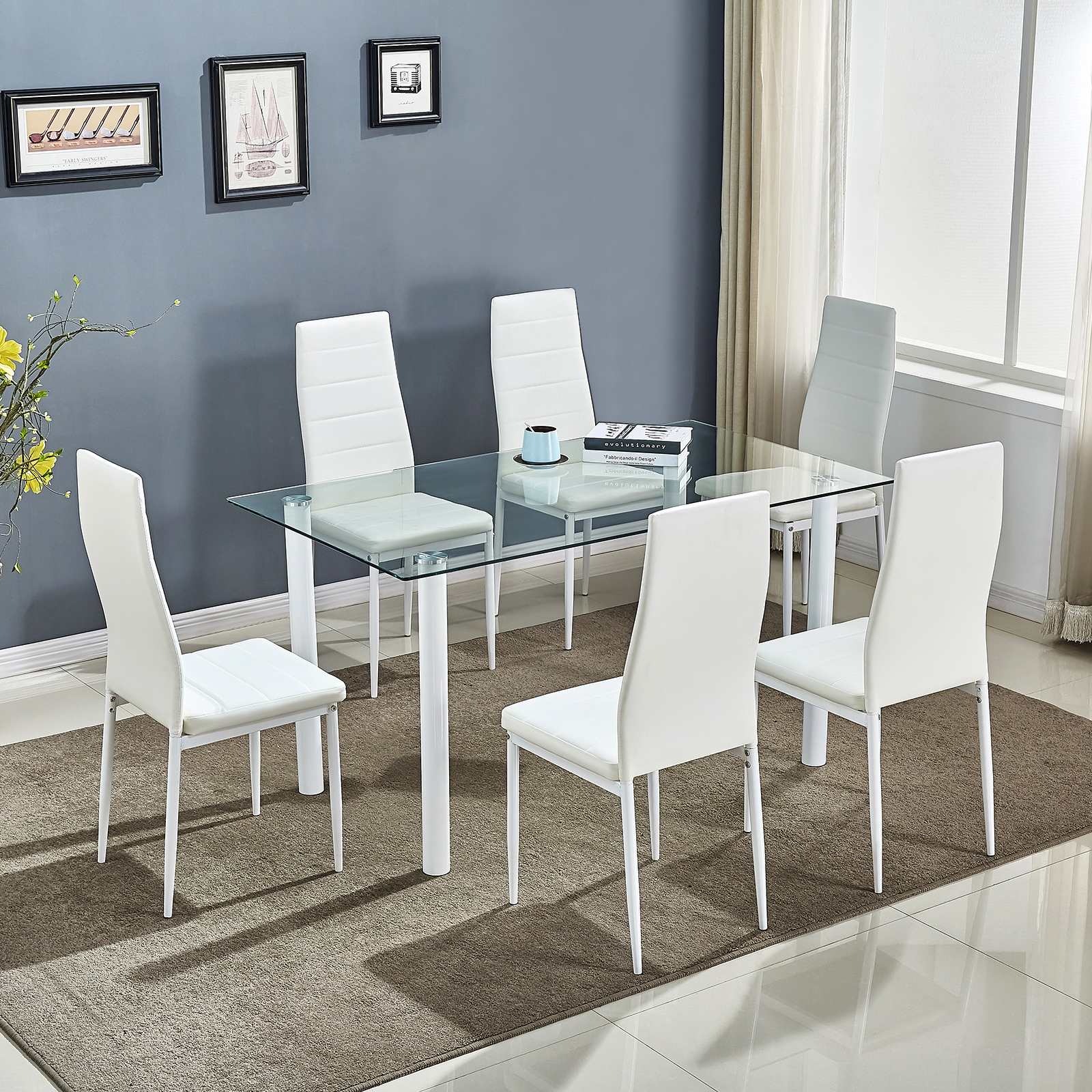 Pleasant Details About Clear Glass Dining Table Set And 6 Faux Leather Chairs Kitchen Furniture White Download Free Architecture Designs Scobabritishbridgeorg