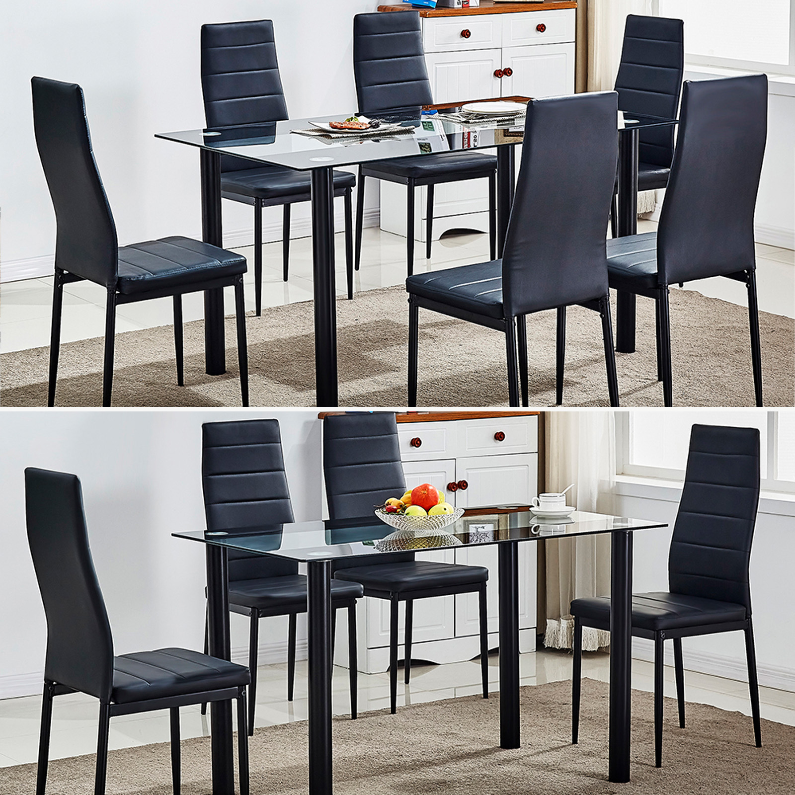 77b97a1c22 Tempered Glass Dining Table Set and 4/6 Faux Leather Chairs Kitchen  Furniture