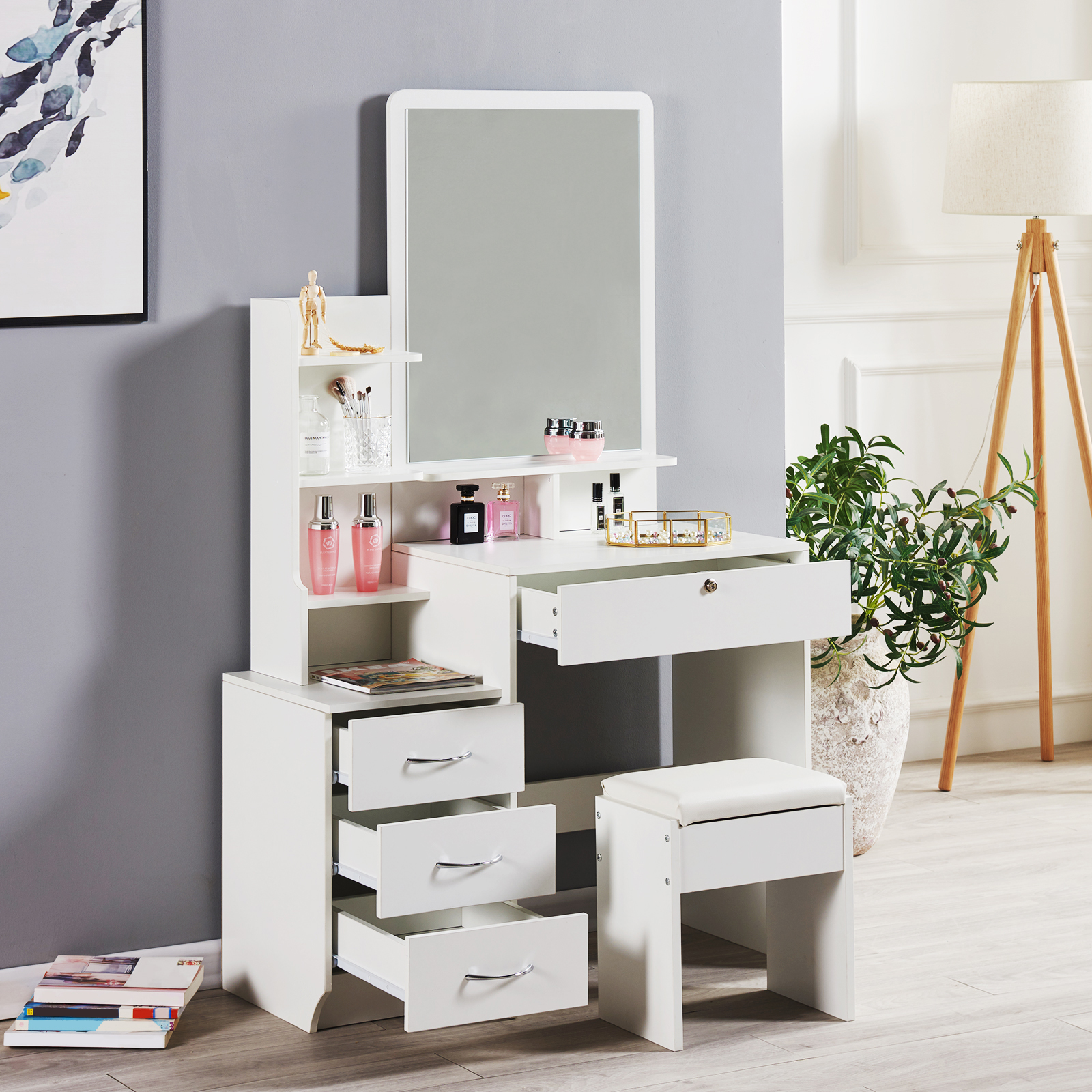 Details about Modern Dressing Table Stool Bedroom Vanity Set Makeup Desk W/  Mirror & 10 Drawers