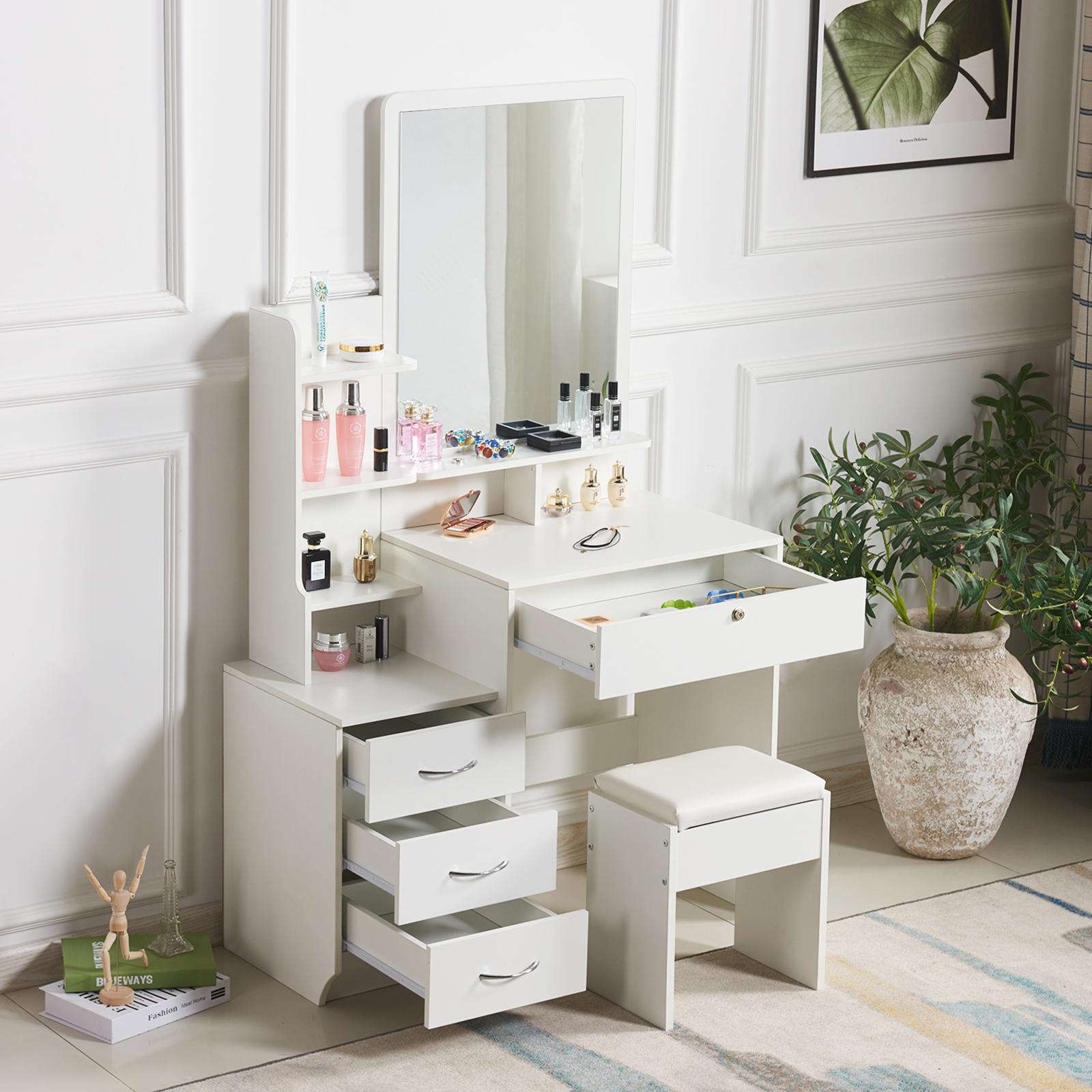 Modern White Dressing Table Jewelry Makeup Desk W Mirror Stool Set 4 Drawers 711639638662 Ebay