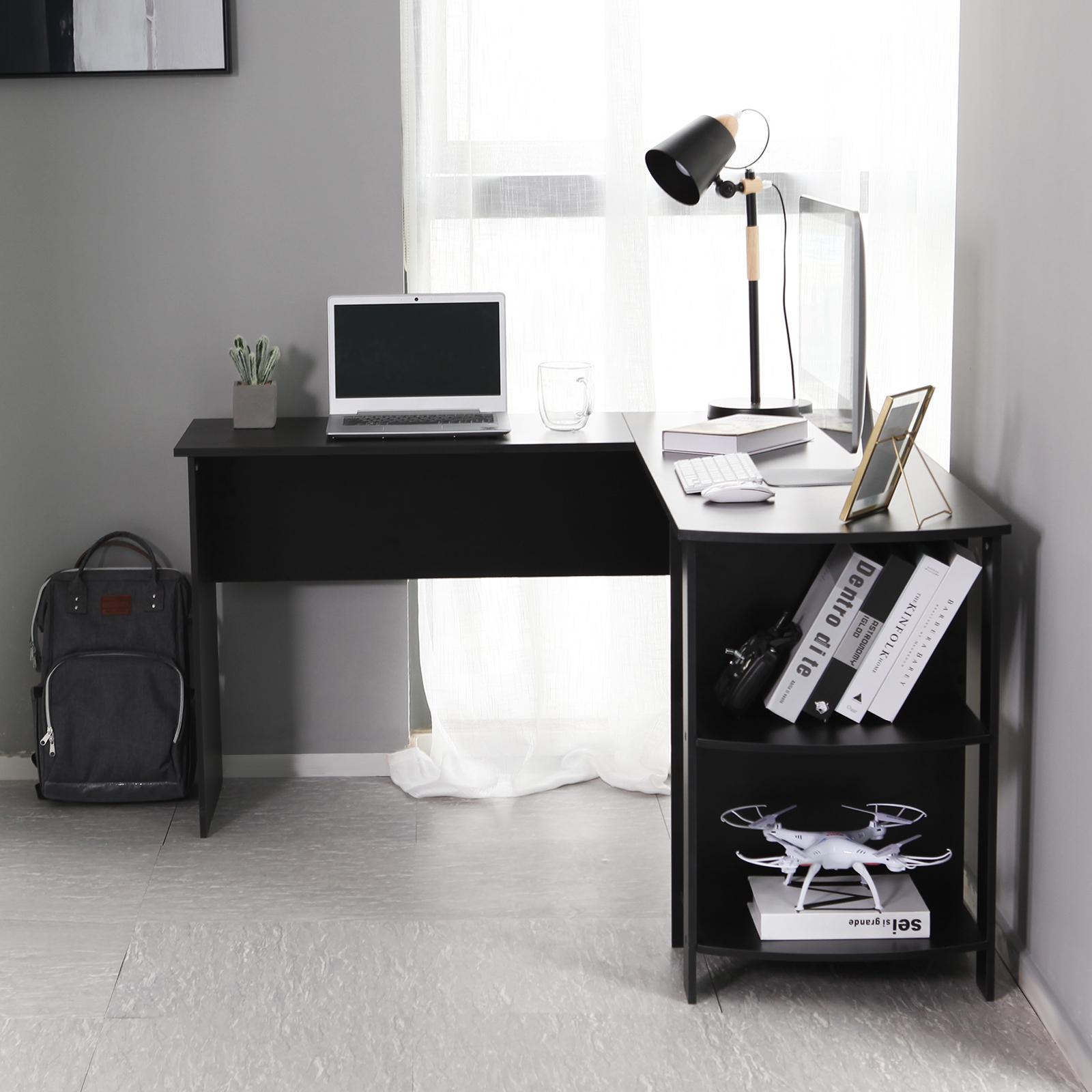 Black L Shaped Computer Desk Corner Pc Table Workstation Home Office W Shelves 711639638648 Ebay