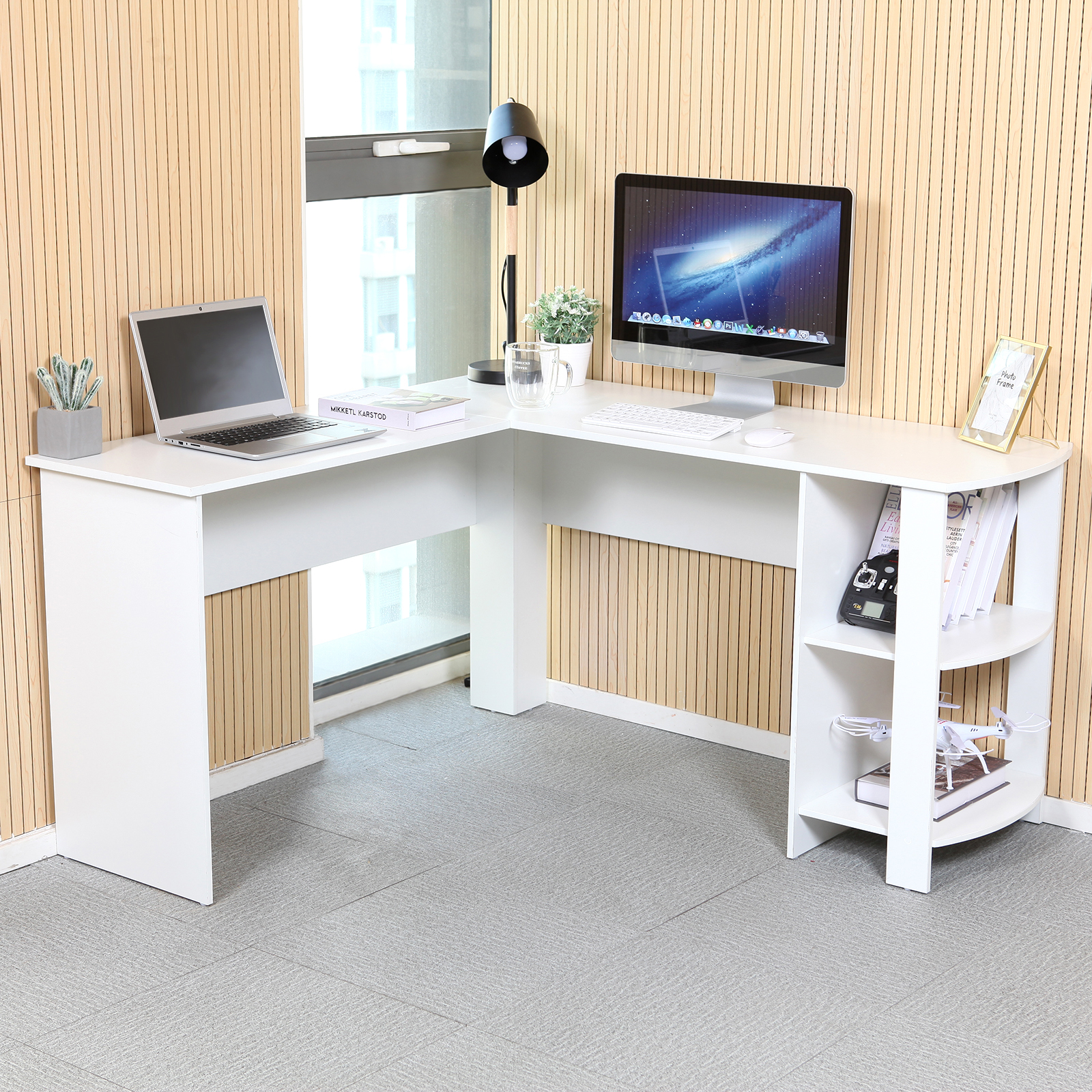 White L Shaped Computer Desk Corner Pc Table Workstation Home Office W Shelves 711639638655 Ebay