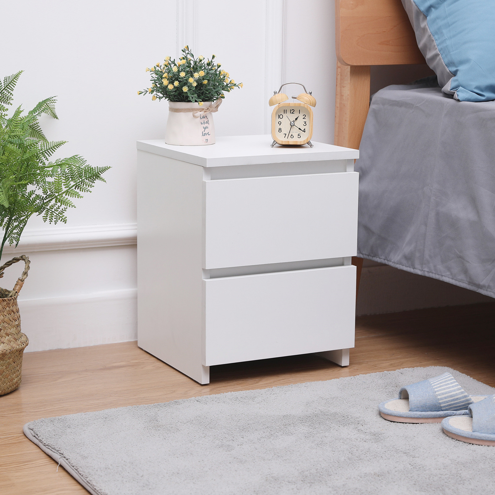 Modern Bedside Table Cabinet With 2