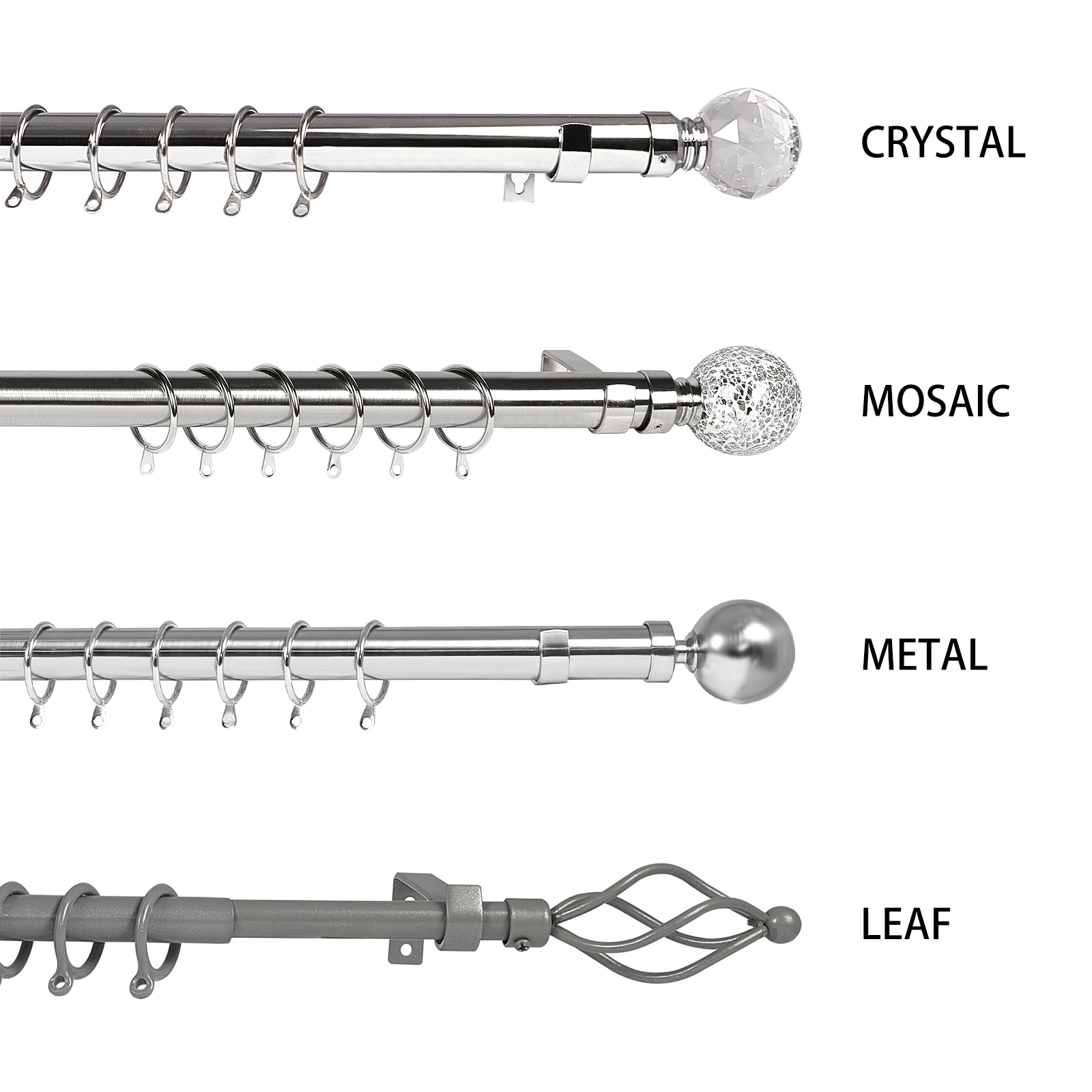 2 Polished Chrome Silver 16//19mm Extendable Curtain Pole Finials Ends Push Fit