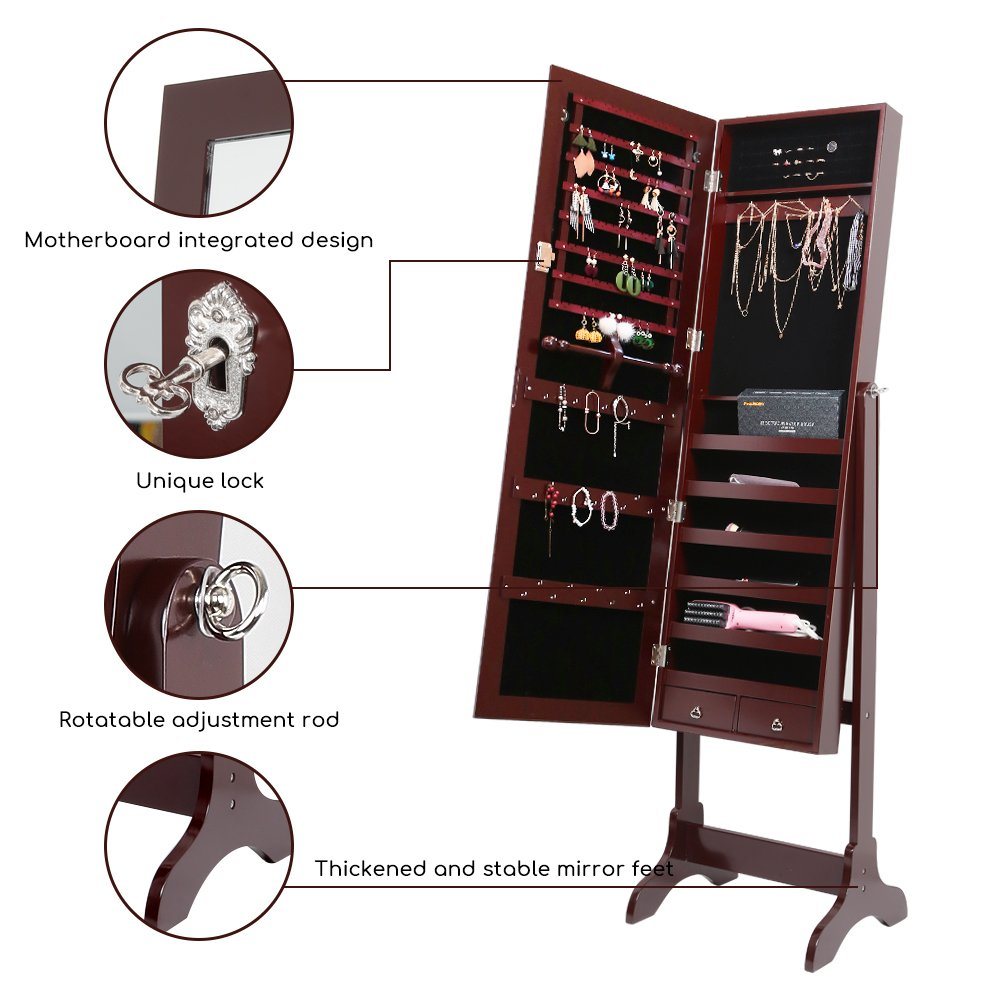 Free Standing Full Length Mirror Jewelry Cabinet Armoire ...