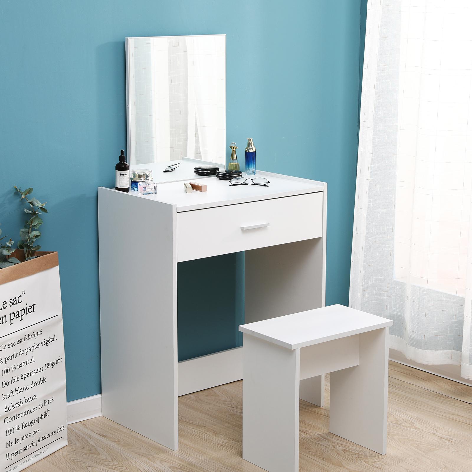 Modern Dressing Table Stool Bedroom Vanity Set Makeup Desk W Mirror Drawer White Ebay