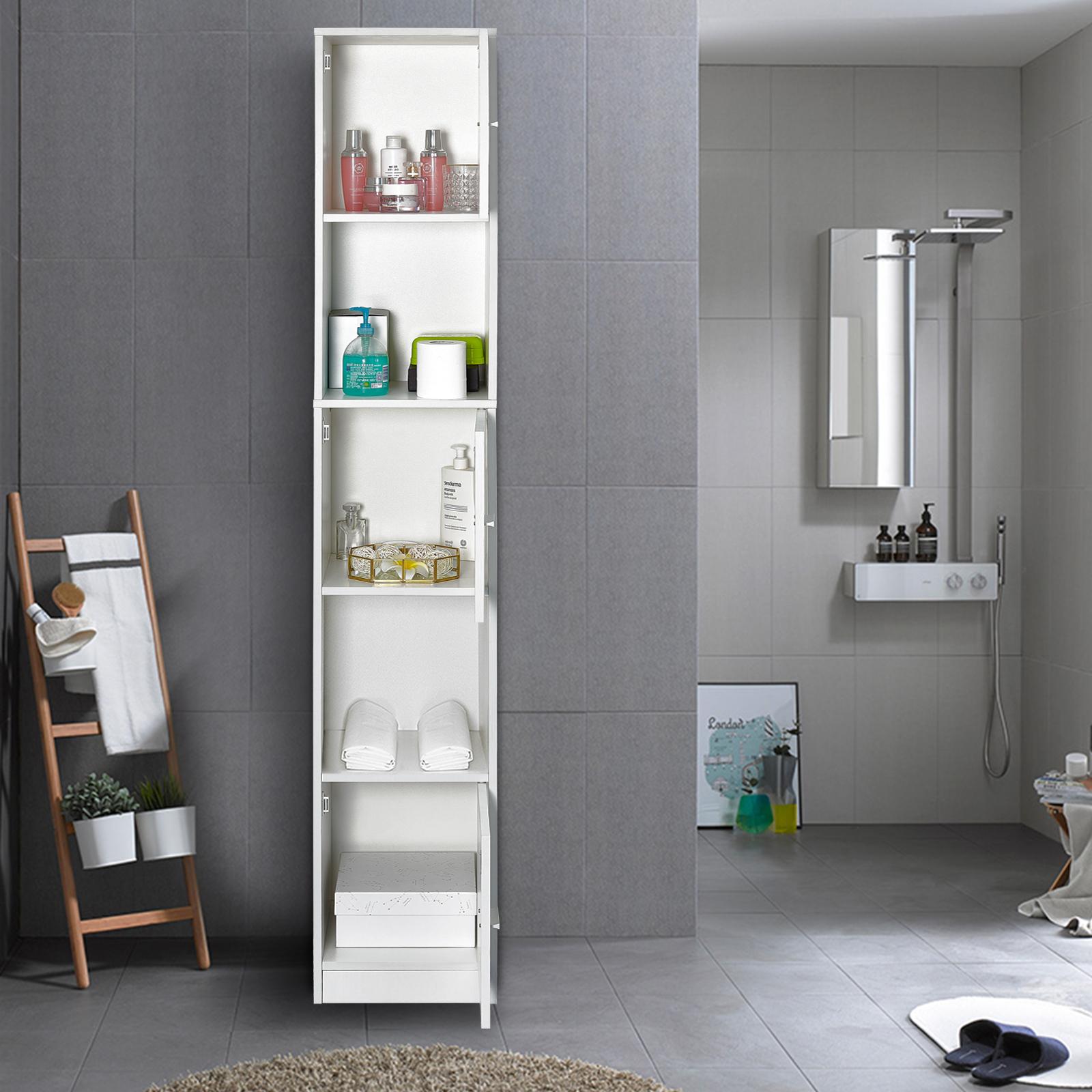 Bathroom Cabinet Shelf 3 Doors Tallboy Cupboard Tall Storage Unit White 180 Cm 711639638488 Ebay