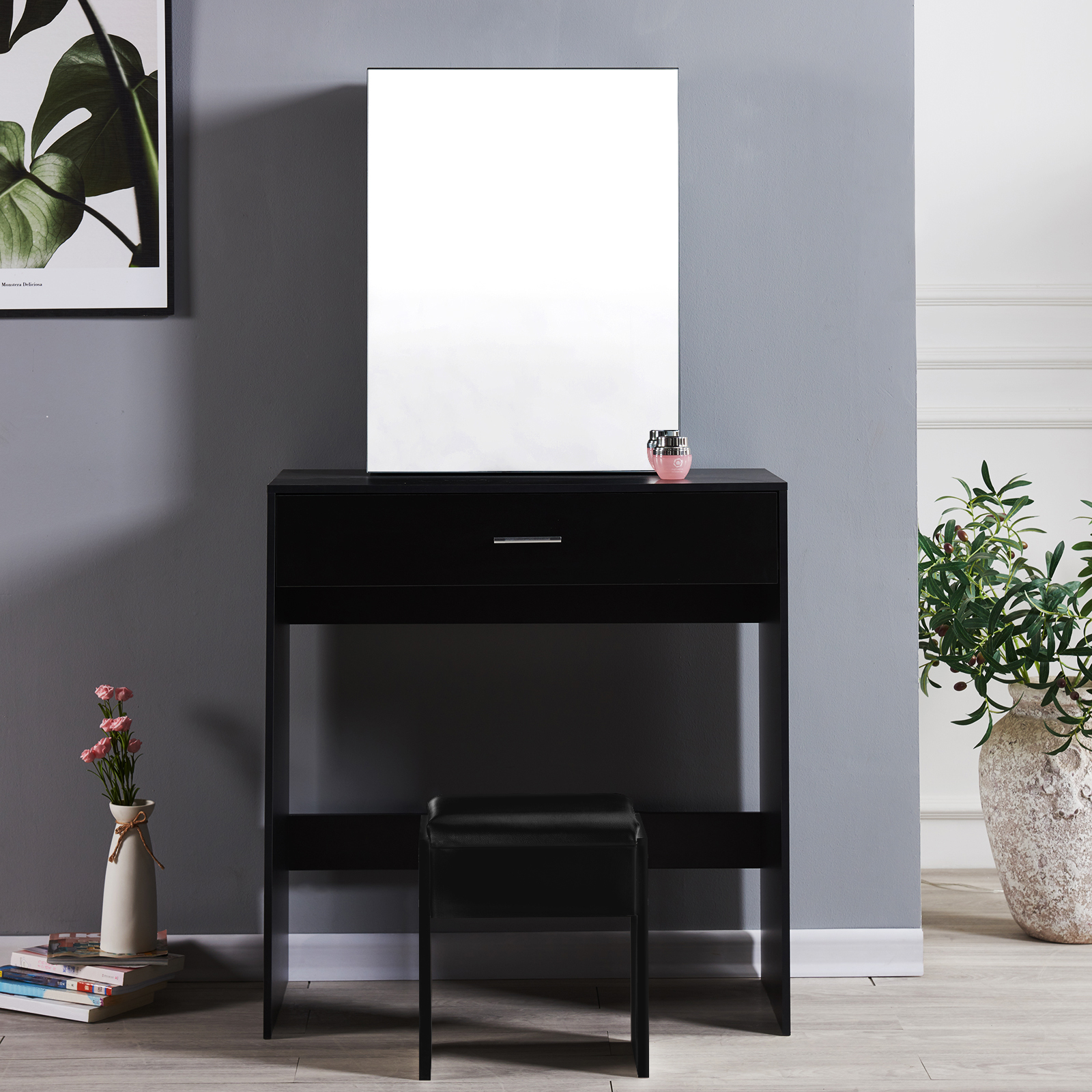 Table Furniture Black Vanity Makeup Jewelry Dressing Table With Sliding Mirror Drawer Bedroom Home Furniture Diy 5050 Pk