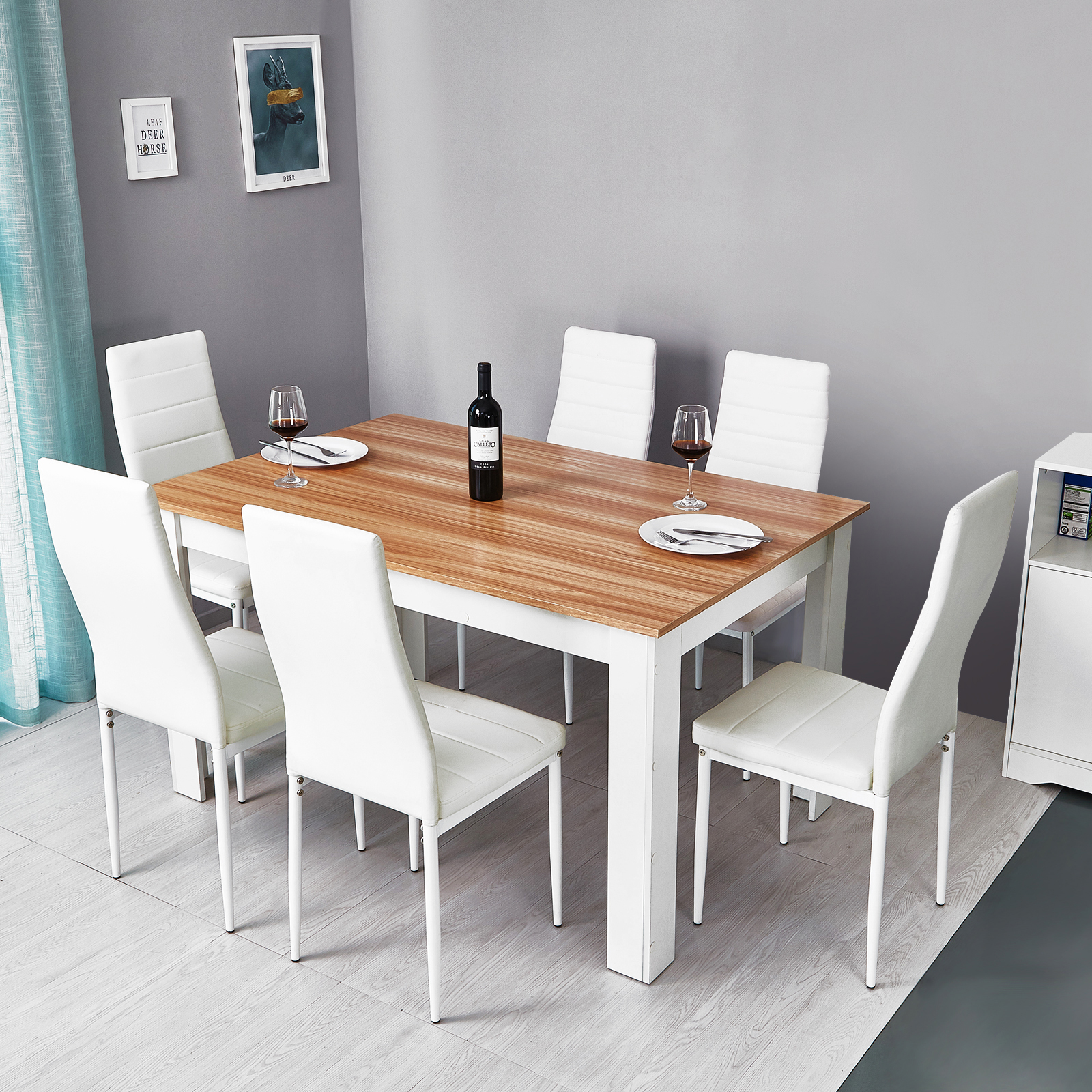 Details about Wooden Dining Table Set w/7 Faux Leather Chairs Seat Kitchen  Furniture Oak&White