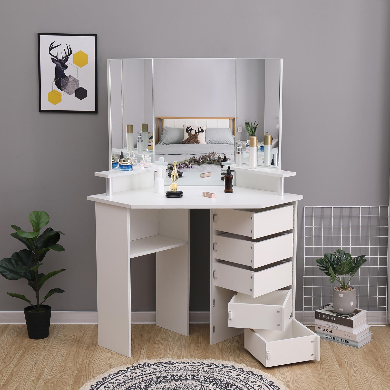 Modern White Corner Dressing Table Makeup Desk W Mirrors Adjustable 5 Drawers 711639639195 Ebay