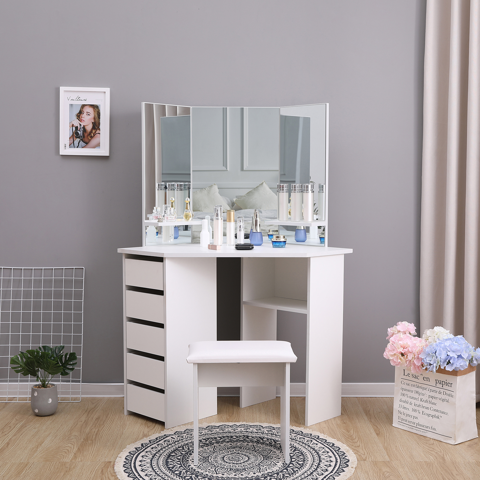 Modern Corner Dressing Table Makeup Desk W 5 Drawers 3 Large Mirror White Bedroom Furniture Dressing Tables
