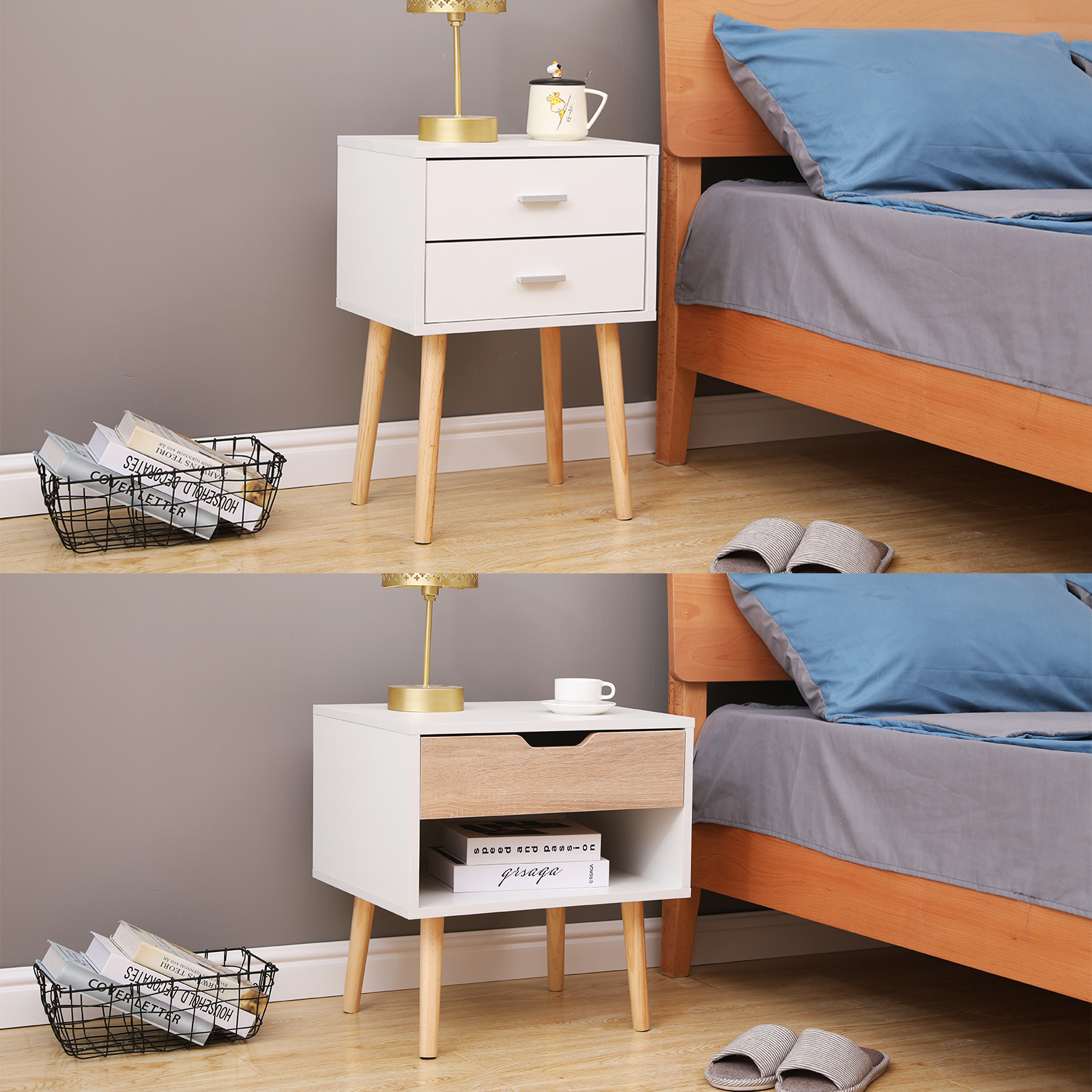 Picture of: Modern Bedside Table Nightstand Cabinet With Drawer Bedroom Furniture 2 Styles Ebay