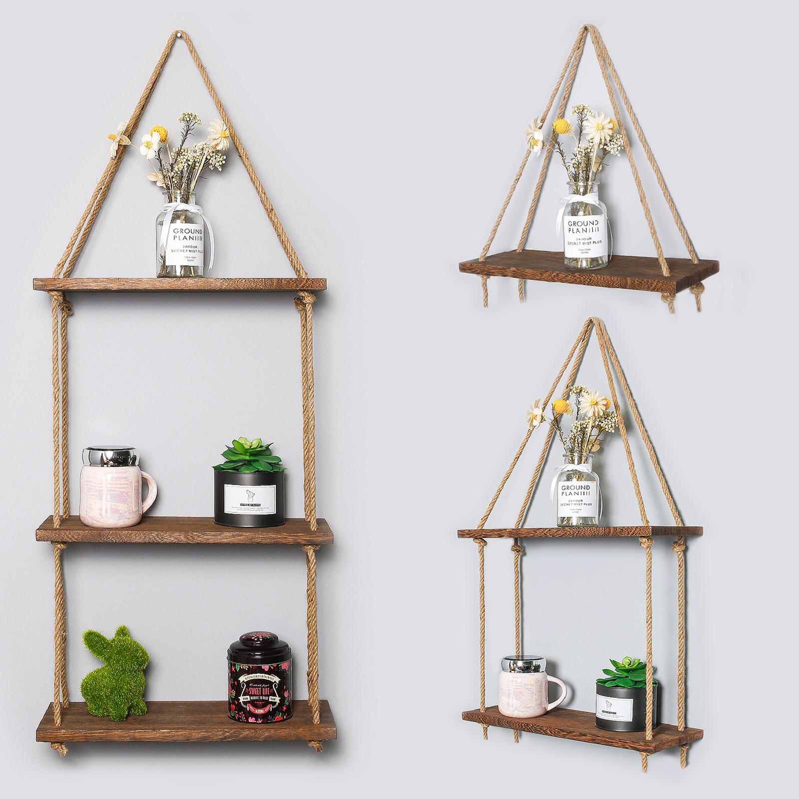 Wall Mounted Rope Shelving Fixtures Included Boho Chic Shelf Wooden Hanging Shelf M/&W 3 Tier Rustic Jute Rope Shelf