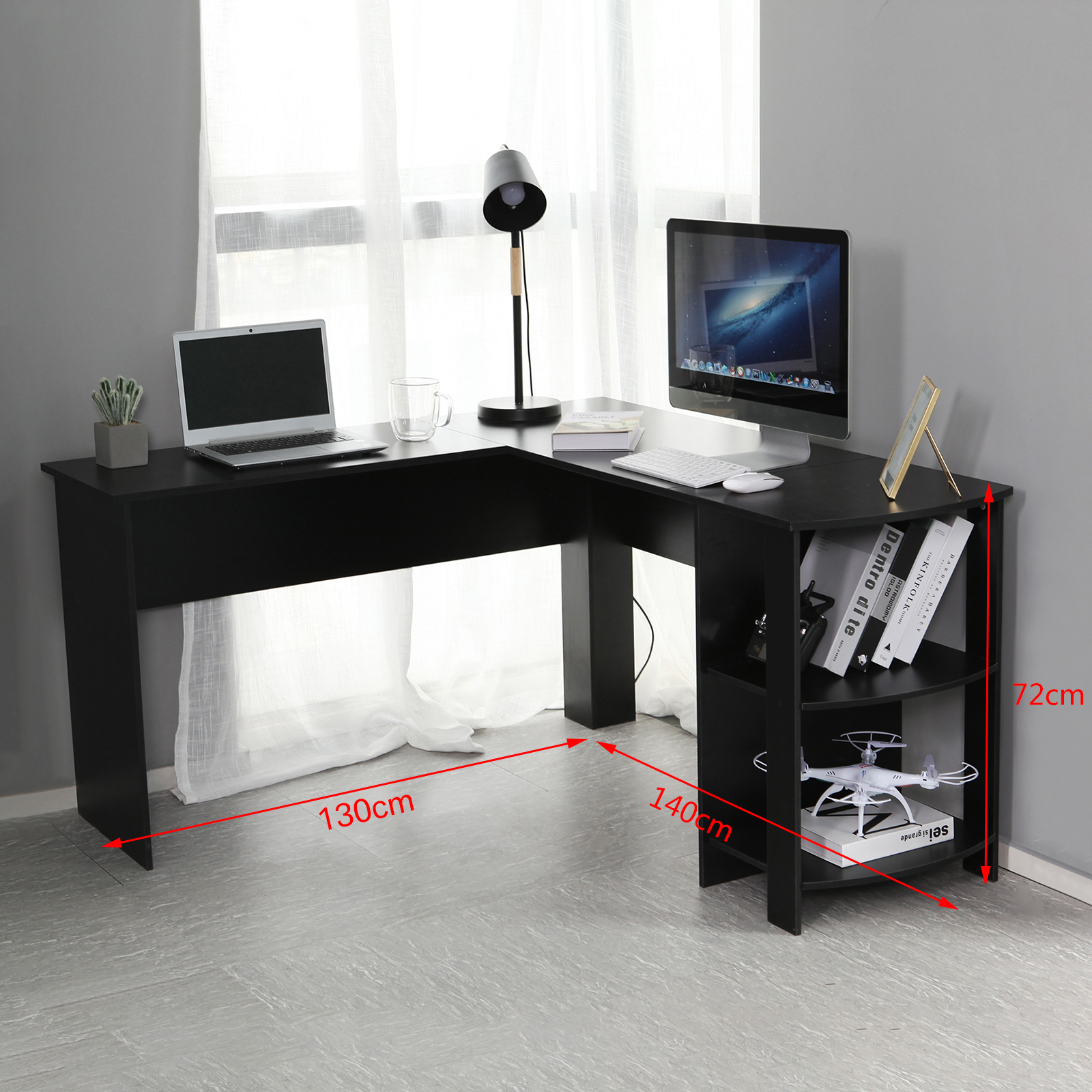 Black L Shaped Computer Desk Corner Pc Table Workstation Home Office W Shelves 711639638648 Ebay