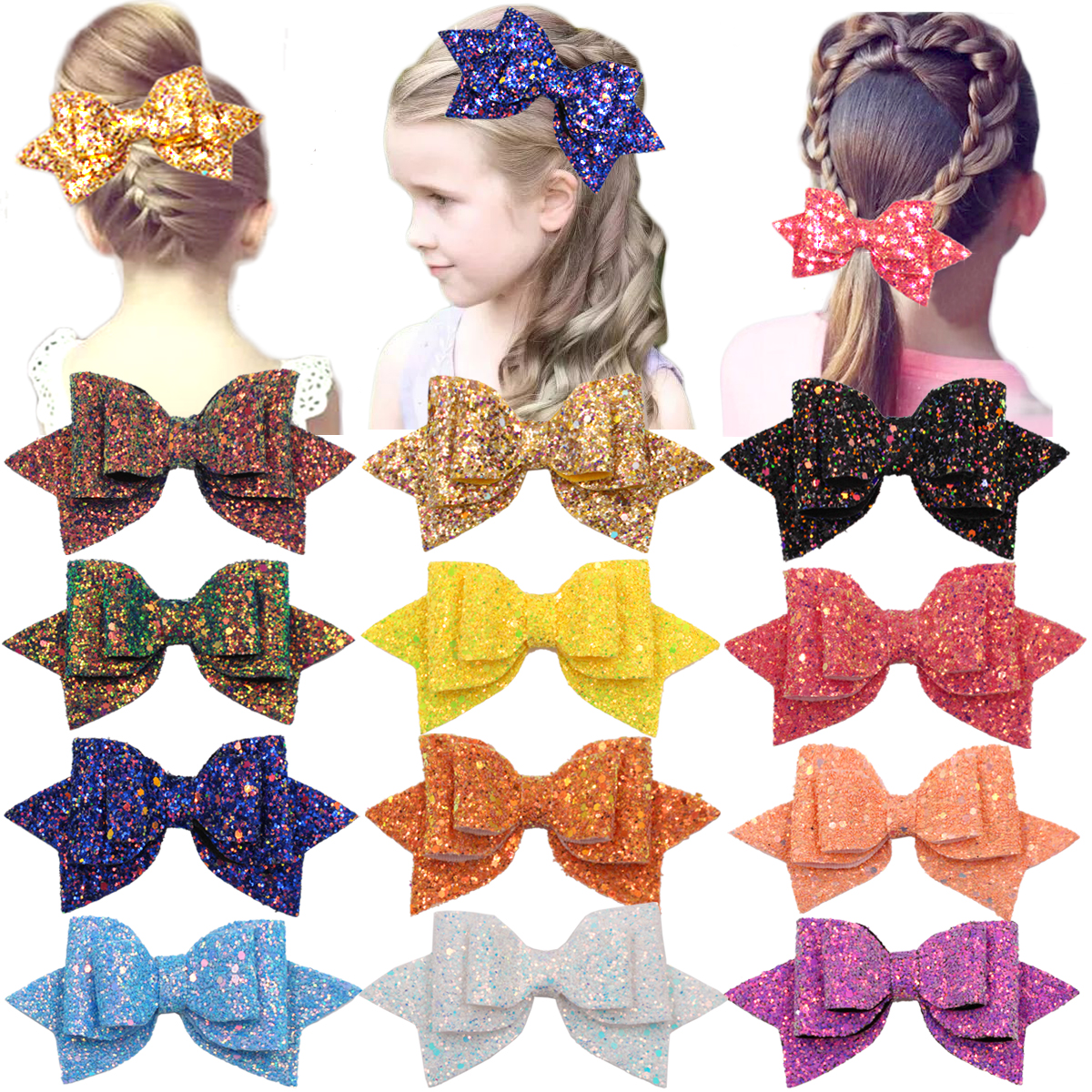 Hot Cute Bling Sparkly Glitter Sequins Big Hair Bows For Girls Alligator Clips