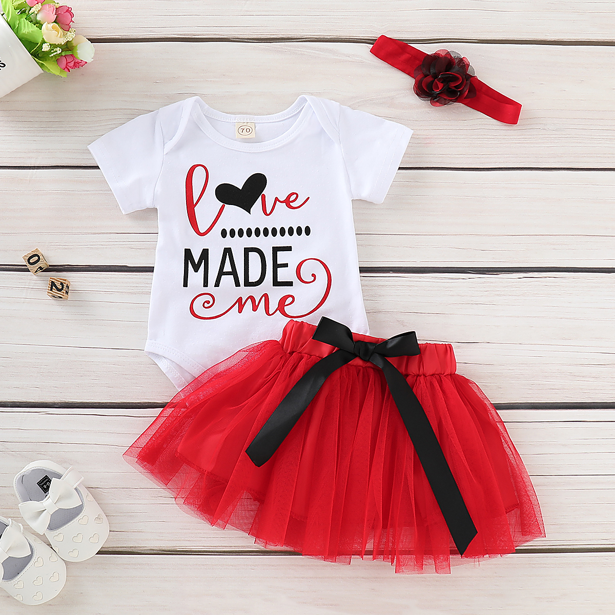 311aebd2831 Details about US Valentine s Day Newborn Baby Girl Romper Red Tutu Skirt  Dress Headband Outfit
