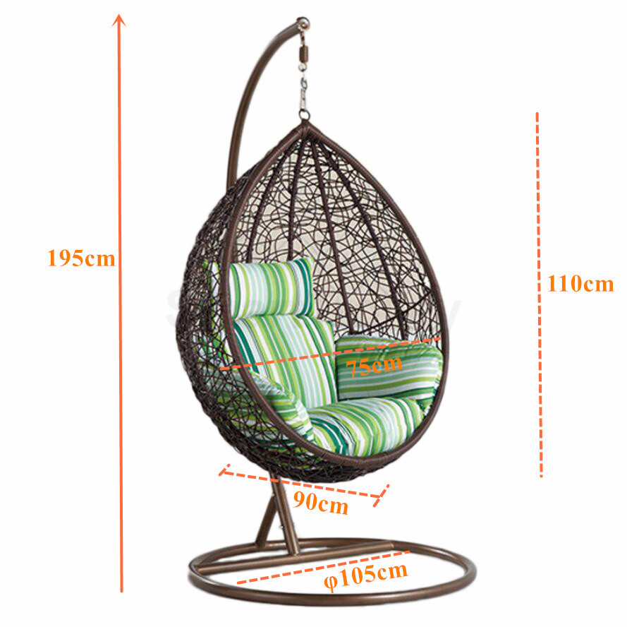 Pe Rattan Wicker Hanging Swing Pod Egg