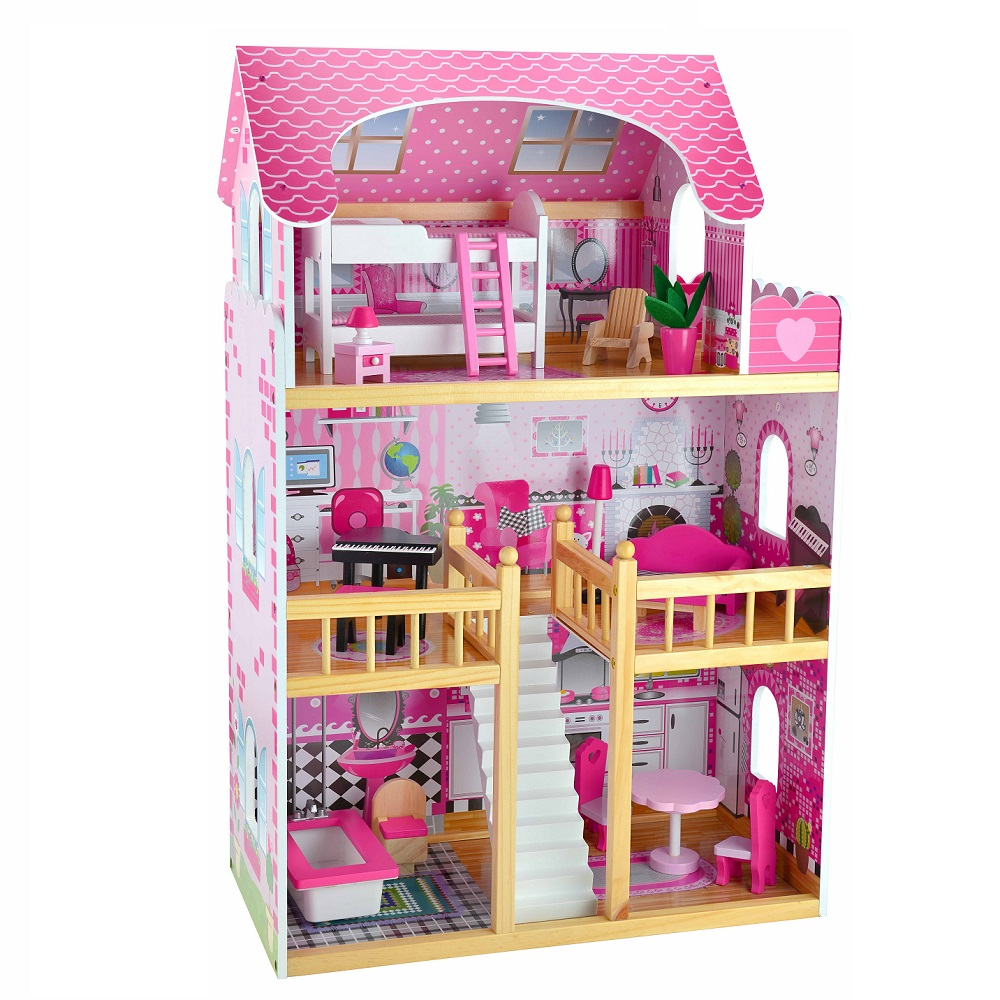 Large Wooden Dolls House Dollhouse Furniture Kids Toy Set Girls Gift Pink