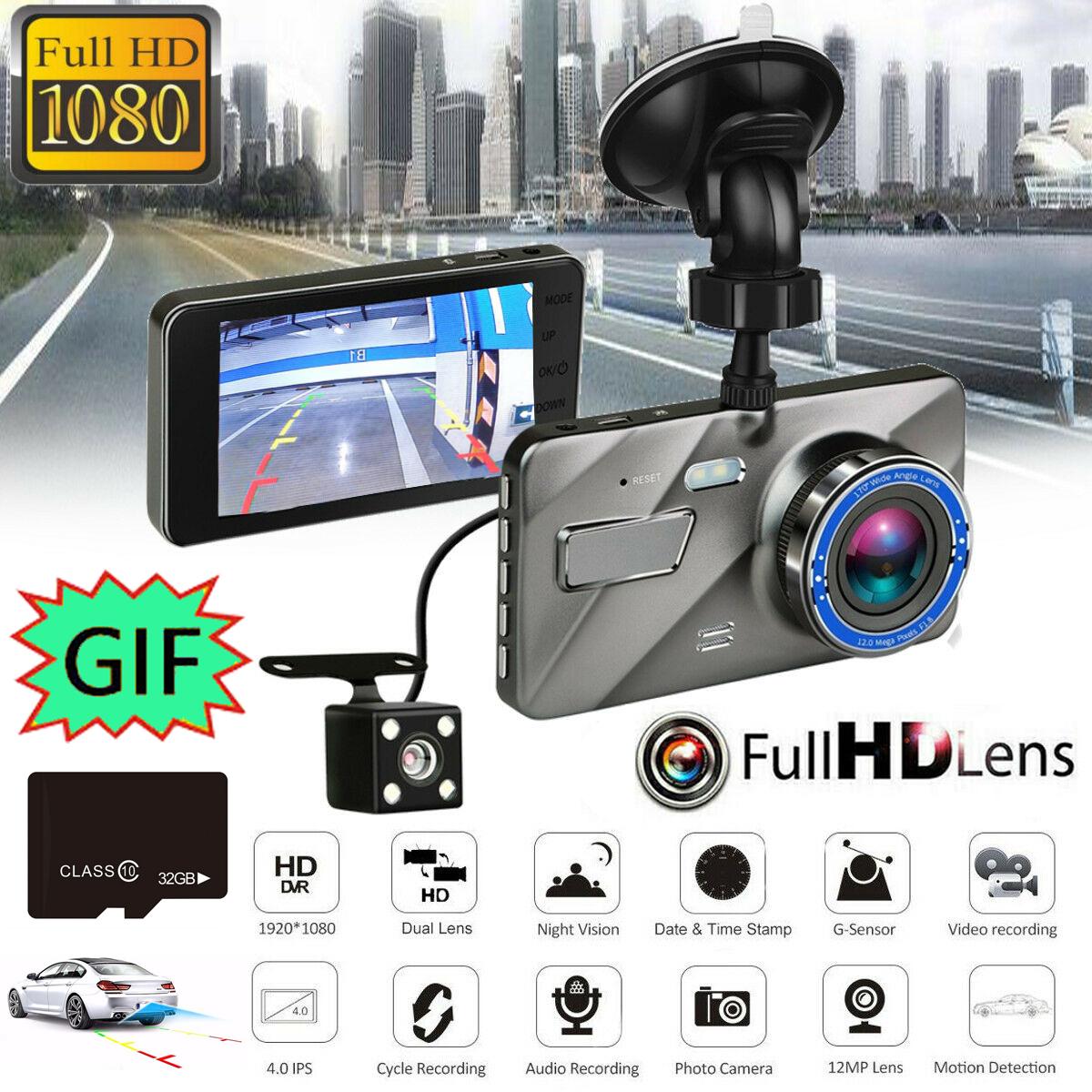 """Hot Dual Lens Camera HD 1080P 170° Car DVR Video Dash Cam Front Rear Recorder 4/"""""""