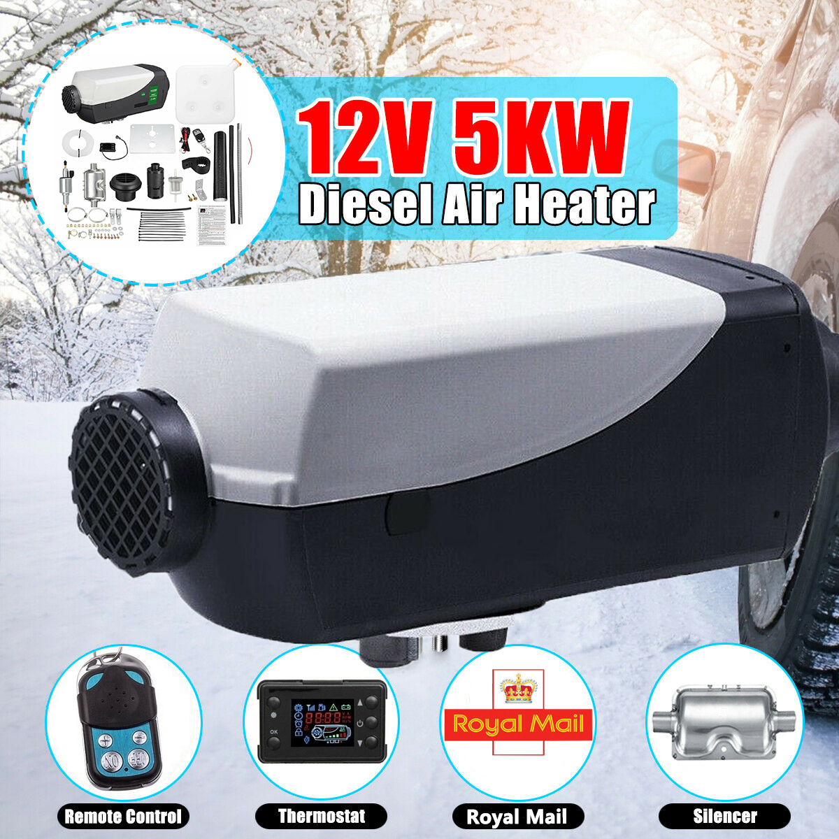 12V 5000W LCD Monitor Air Diesel Heater PLANAR 2KW-5KW for Car Truck Motor-Homes