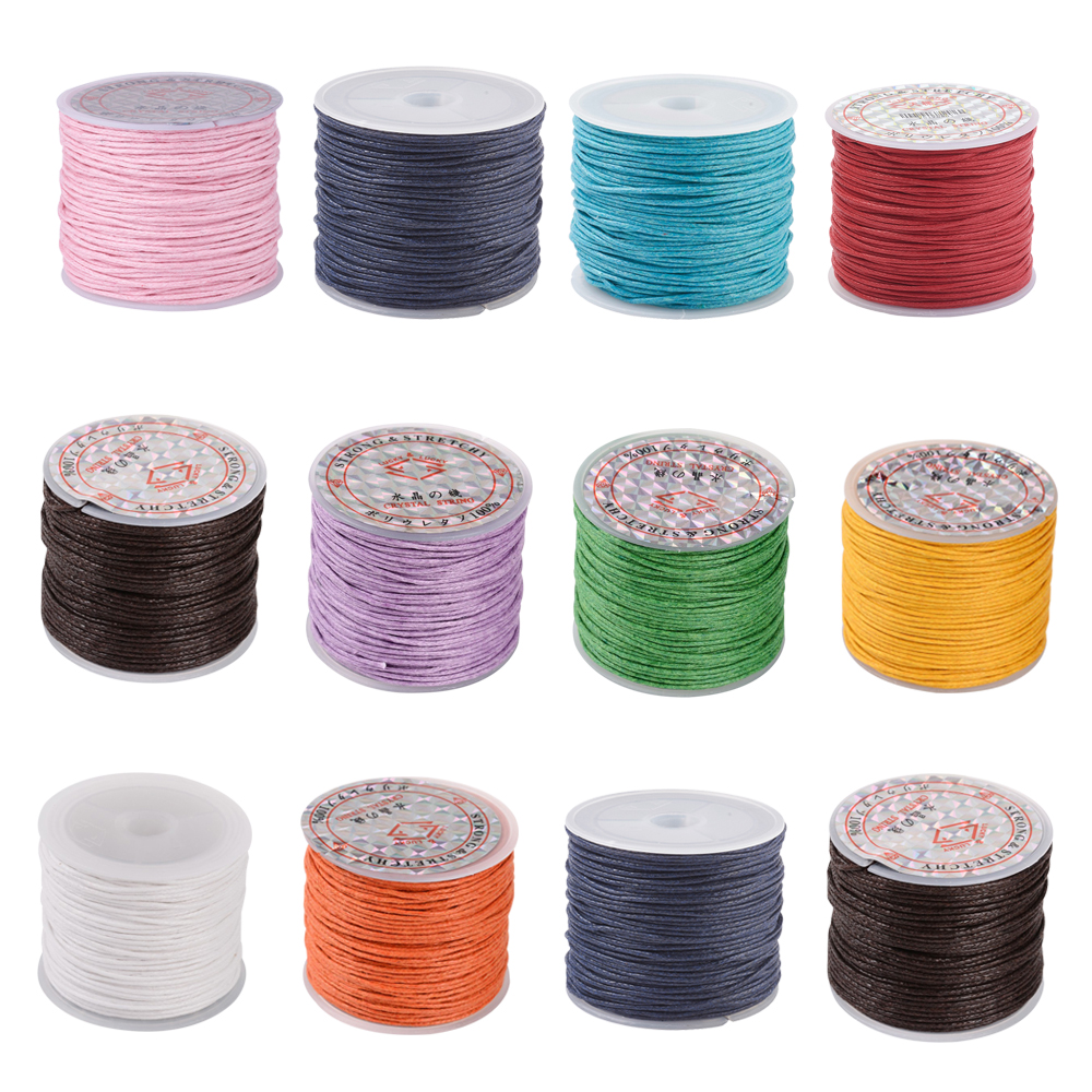 6 Rolls 1mm Waxed Cotton Cord Thread Beading String for Jewelry Macrame 74m//roll