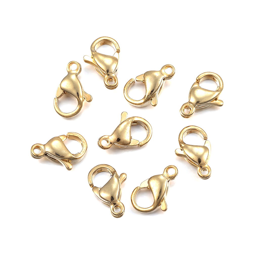 100 LOBSTER CLASPS LOT WHOLESALE 8mm x 16mm GOLD PLATED