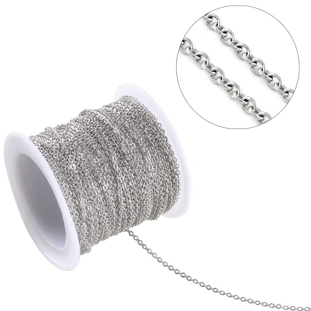 10m//roll 304 Stainless Steel Cable Chains Unwelded 3x2mm Link Necklace Making
