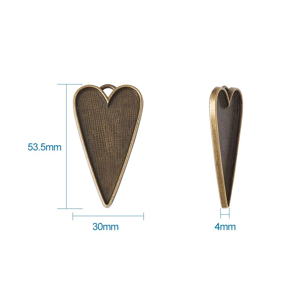 50x Tibetan Platinum Alloy Heart Large Pendant Cabochon Bezel Settings 53.5x30mm