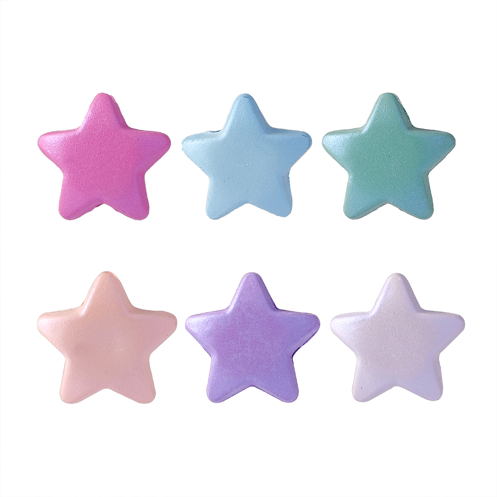 50Pcs Rubberized Opaque Acrylic Star Beads Jewelry Making 11x11.5x6mm Hole 2mm