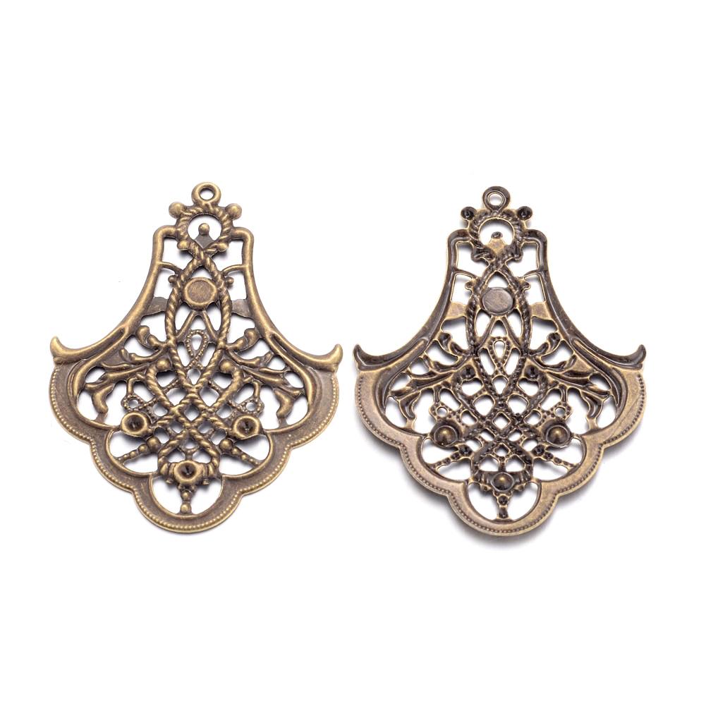 20pcs Antique Bronze Iron Filigree Drop Pendants Large Size Dangle Charms 66mm