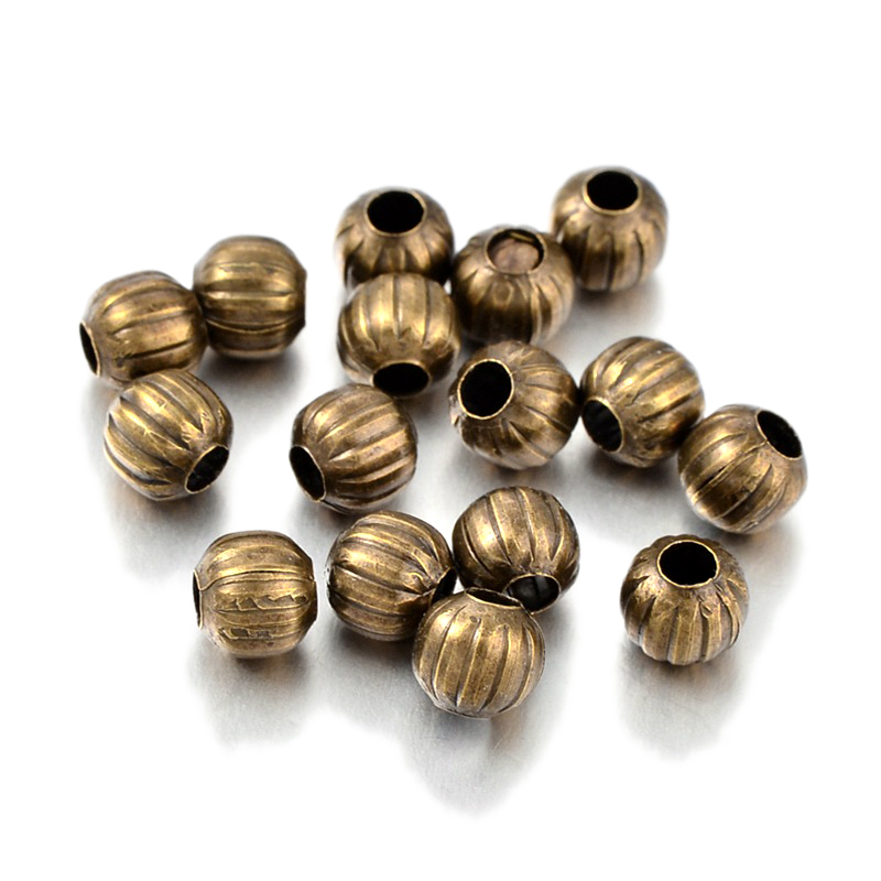 100X Antique Bronze Metal Beads Faceted 6mm Round Corrugated Pumpkin Spacer