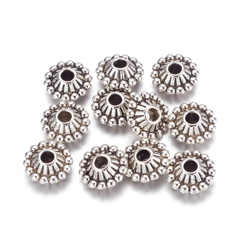 200x Loose Metal Spacer Beads Craft Flat Beads Flower Beads Silver and Gold