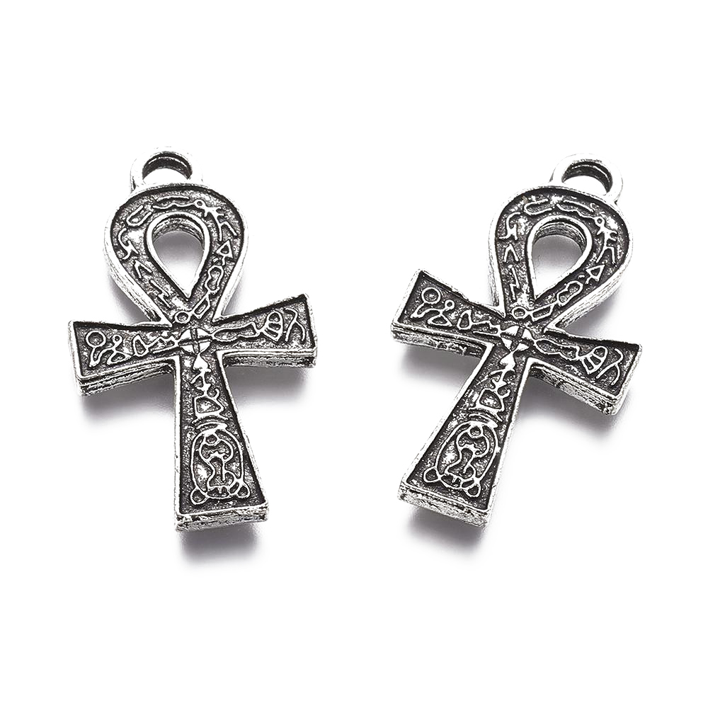 Egyptian Ankh Cross Charm//Pendant Tibetan Silver 56mm  2 Charms Accessory Crafts