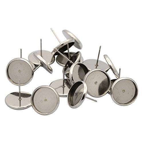 black 8mm stud earring base 8mm earring setting cabochon bezel base 20PCS 8mm earring post lead and nickel free ear posts bezel tray
