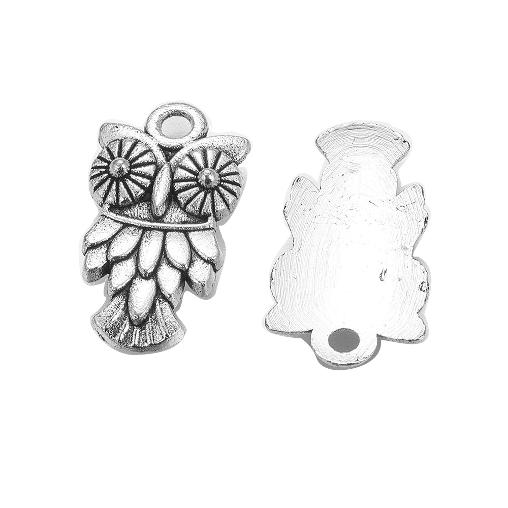 Free Ship 10Pcs Tibetan Silver Owl Charms European Owl Spacer Beads 11mm