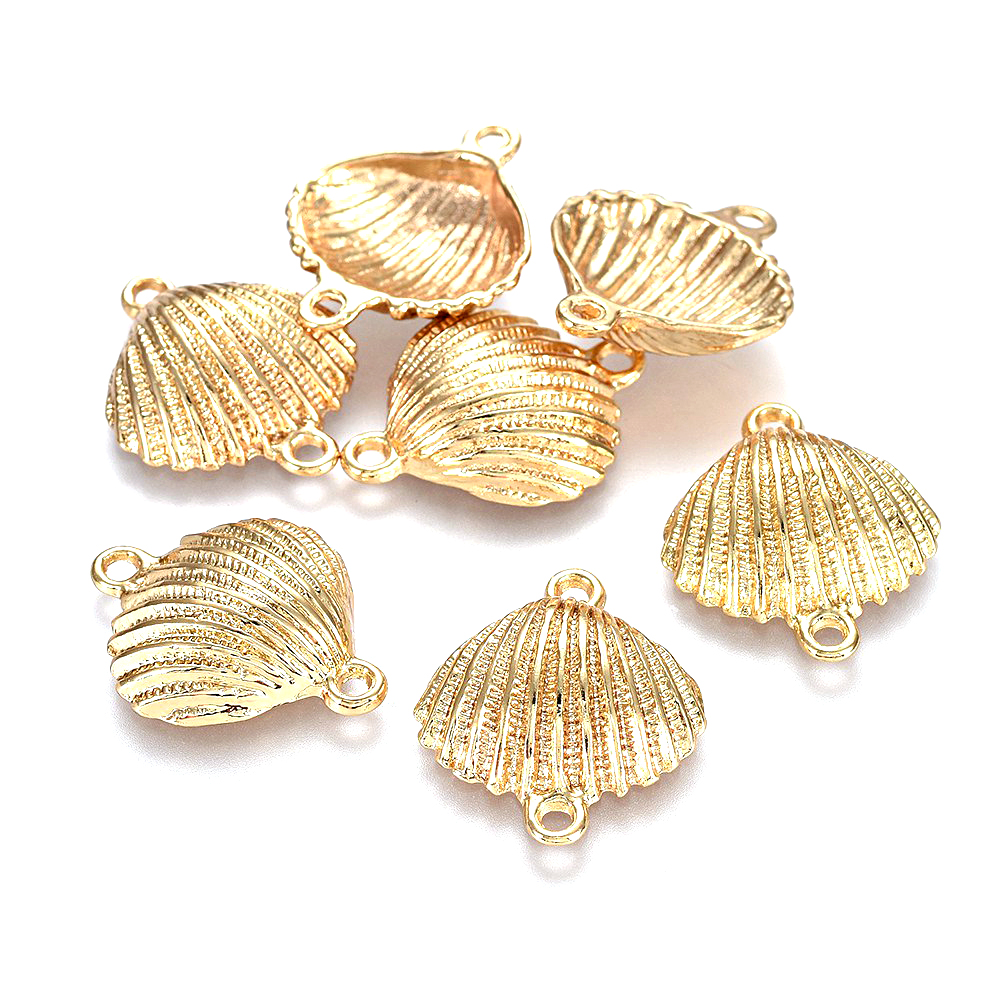 20mm Silver Yellow Plated Conch Shell Charm
